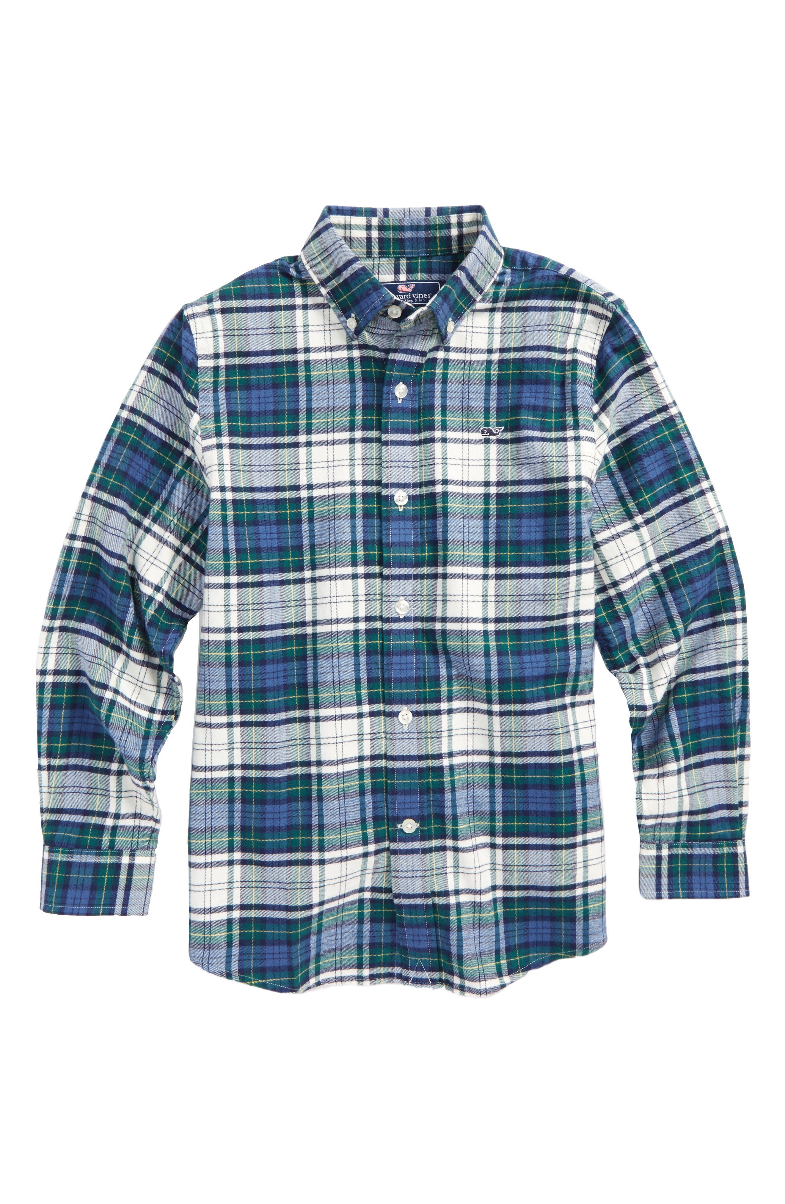 Main Image - vineyard vines Hayward Point Plaid Flannel Shirt (Toddler Boys, Little Boys & Big Boys)