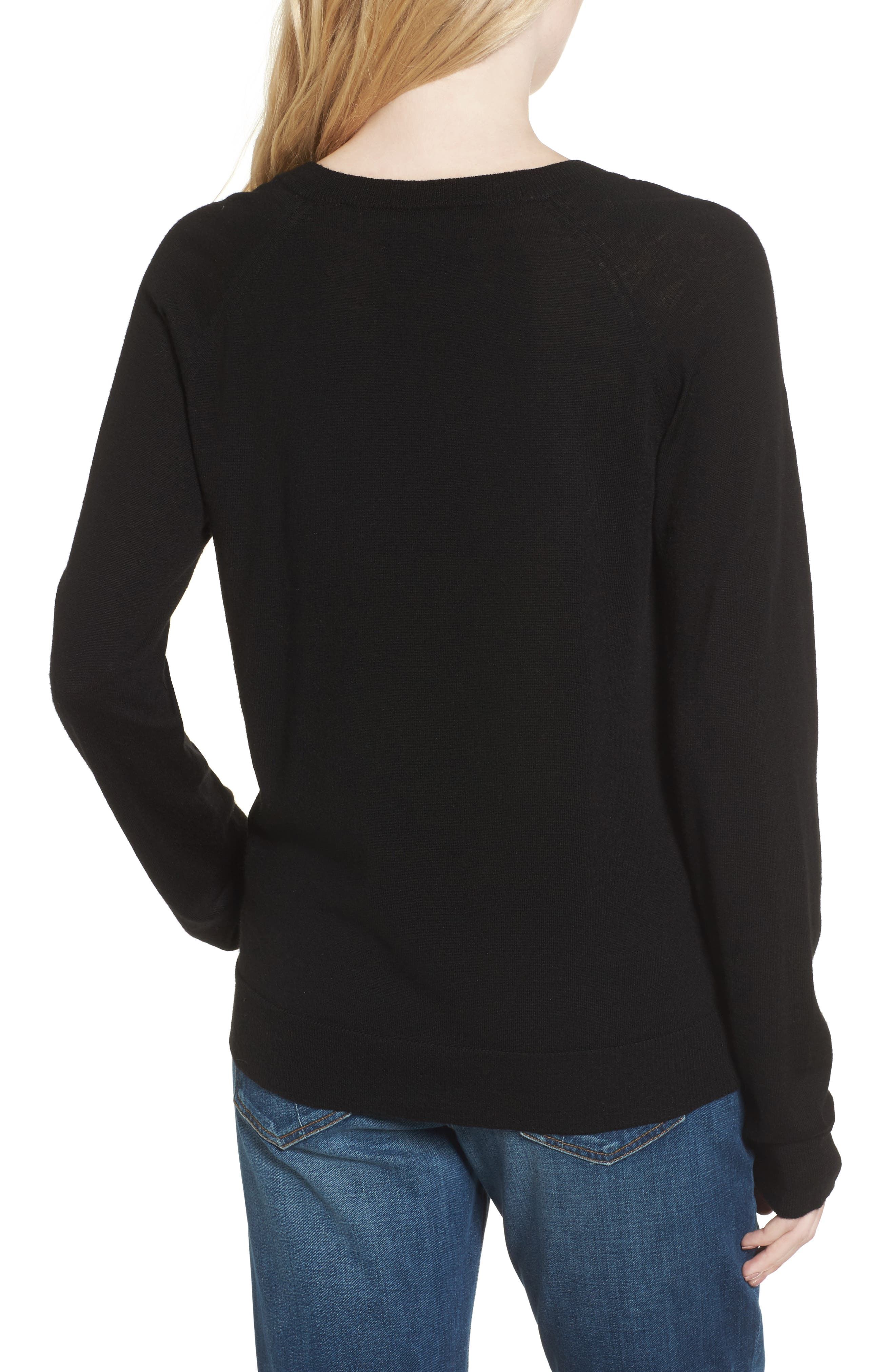 Reglis Merino Wool Sweater,                             Alternate thumbnail 2, color,                             Noir