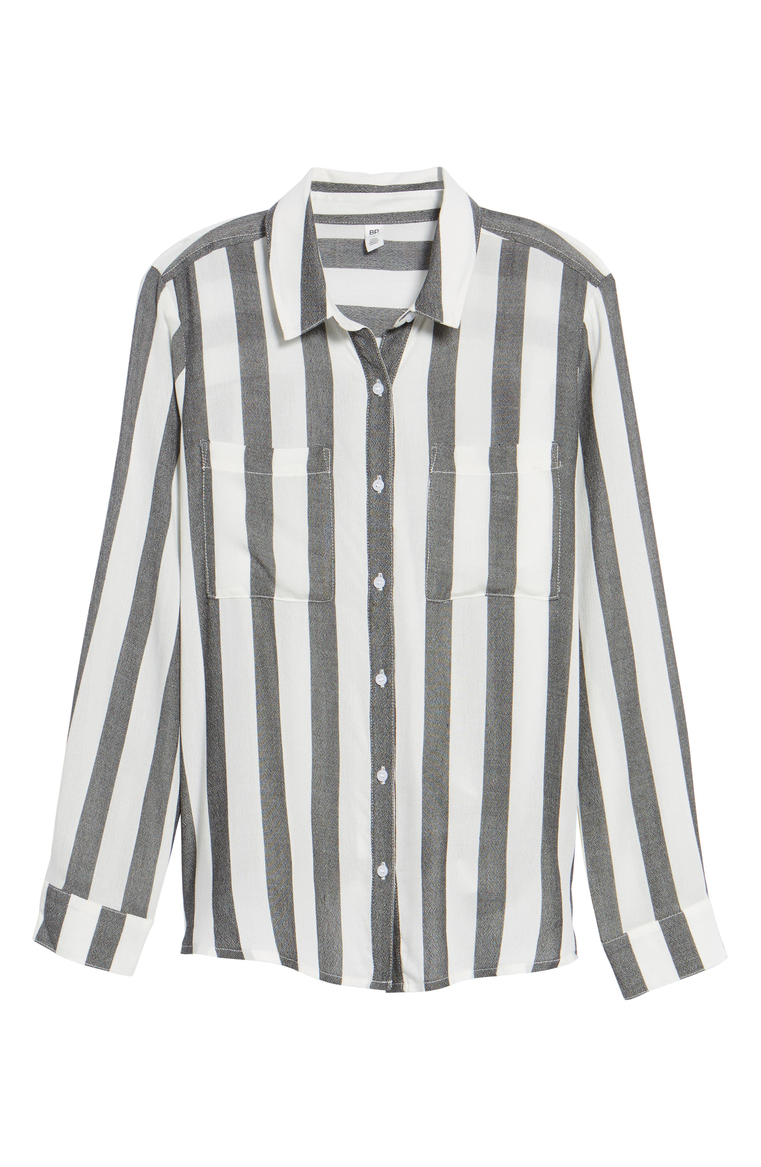 The Perfect Shirt,                             Alternate thumbnail 6, color,                             Black Flora Stripe