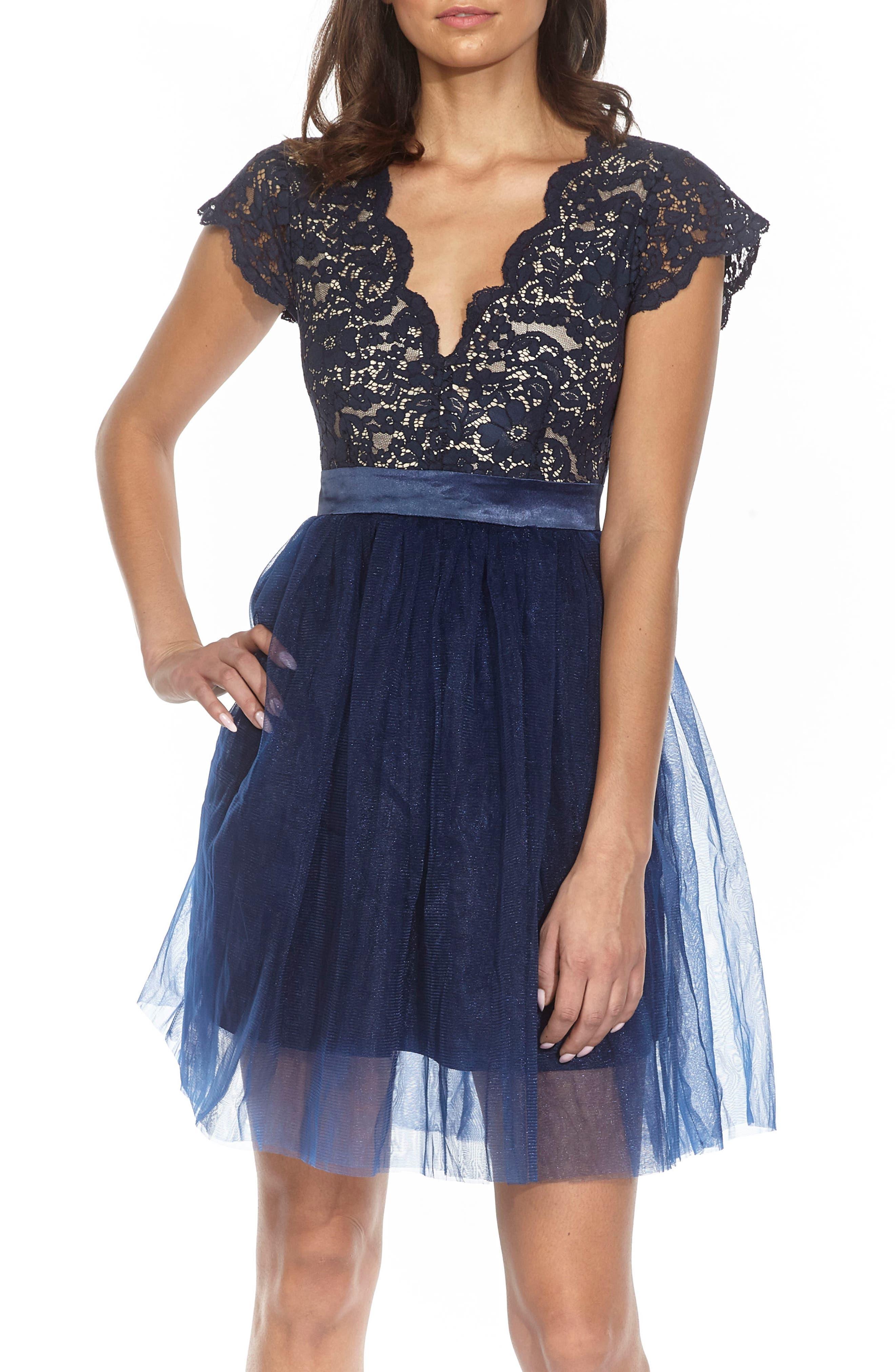 Macen Scalloped Lace Skater Dress,                             Main thumbnail 1, color,                             Navy