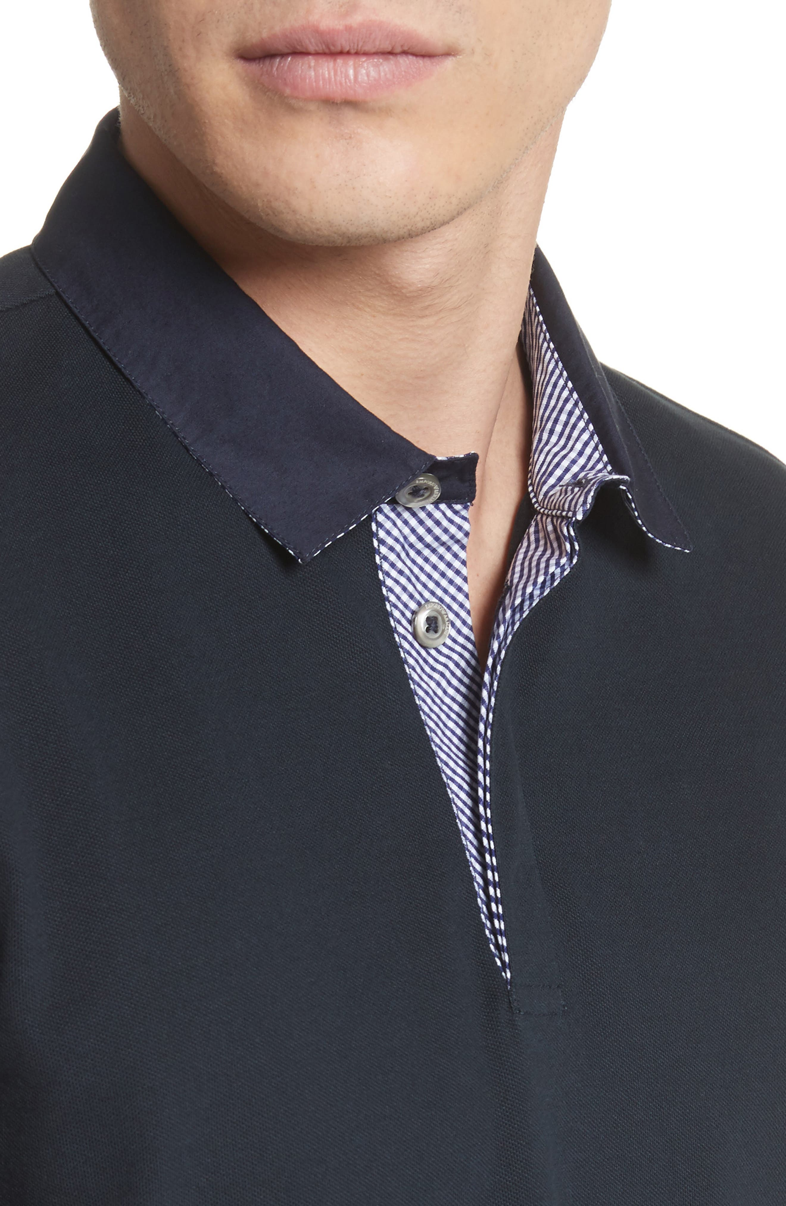 Slim Fit Stretch Polo,                             Alternate thumbnail 4, color,                             Blue Navy