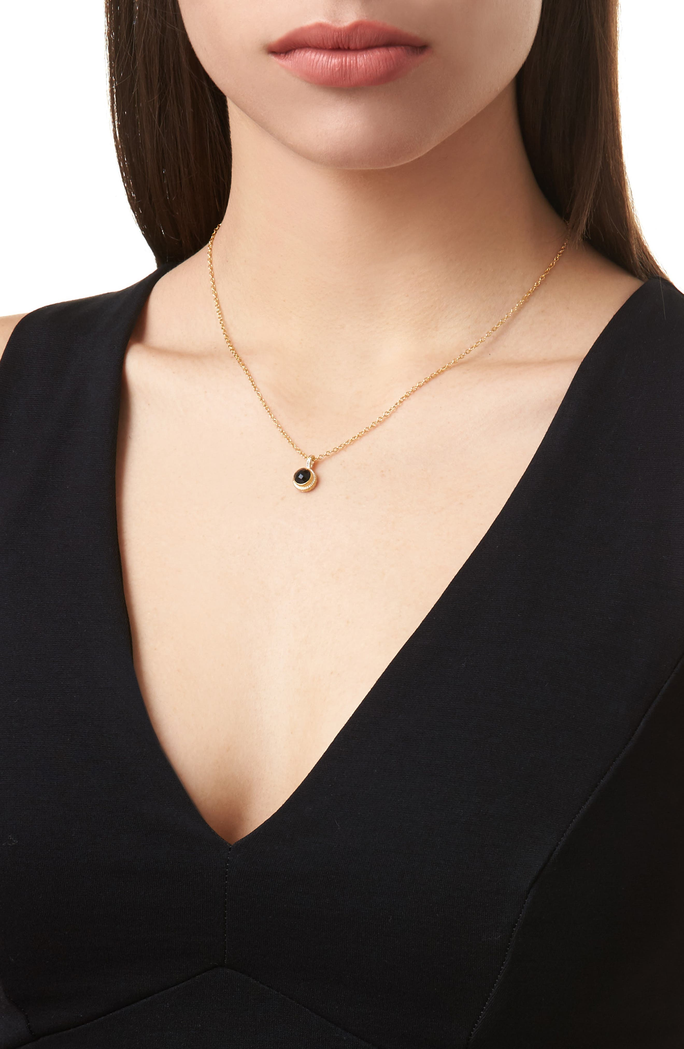 Semiprecious Stone Round Drop Pendant Necklace,                             Alternate thumbnail 2, color,                             Gold/ Black Onyx