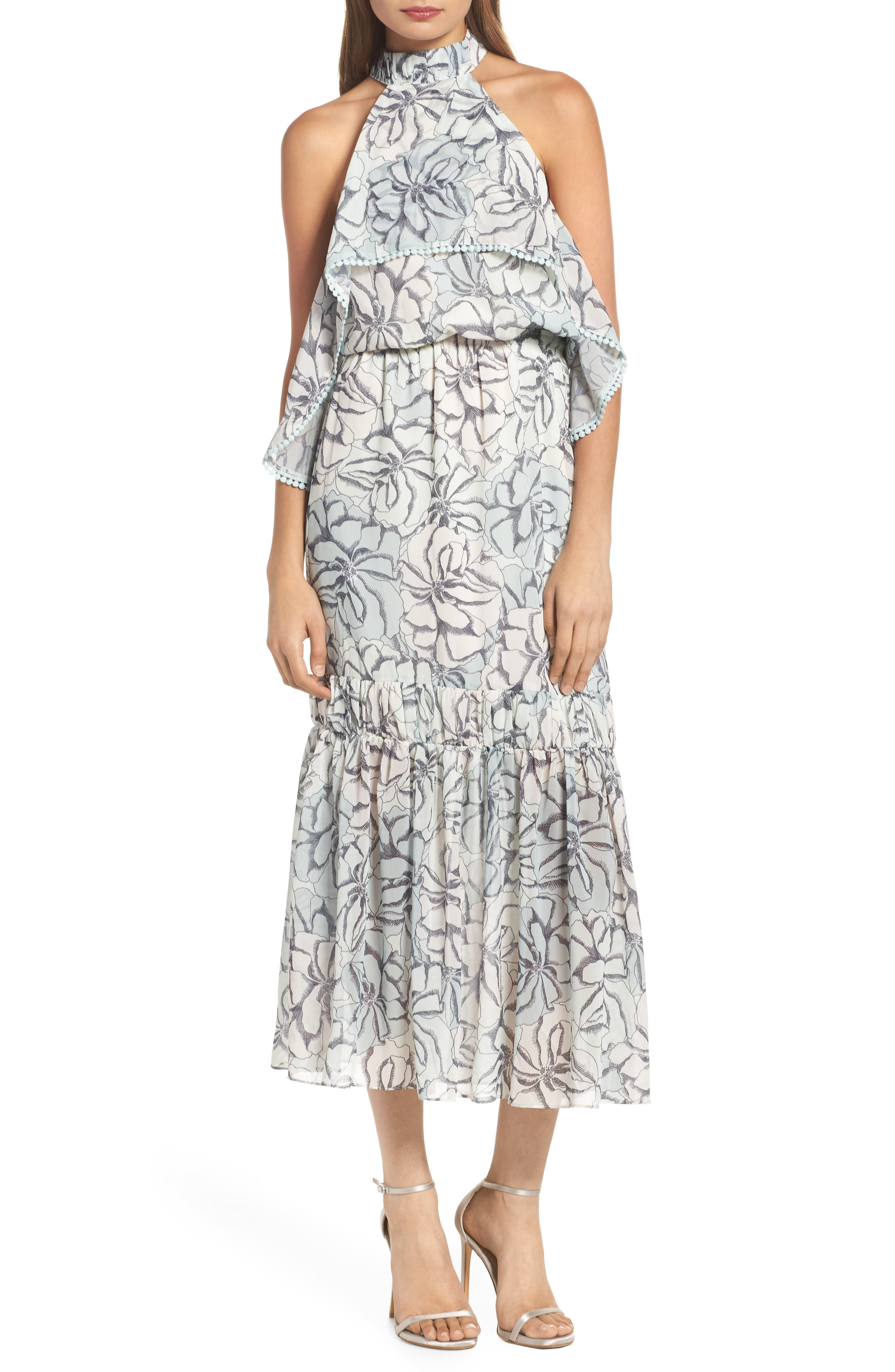 Amina Pompom Halter Tea Length Dress,                         Main,                         color, Amina Multi