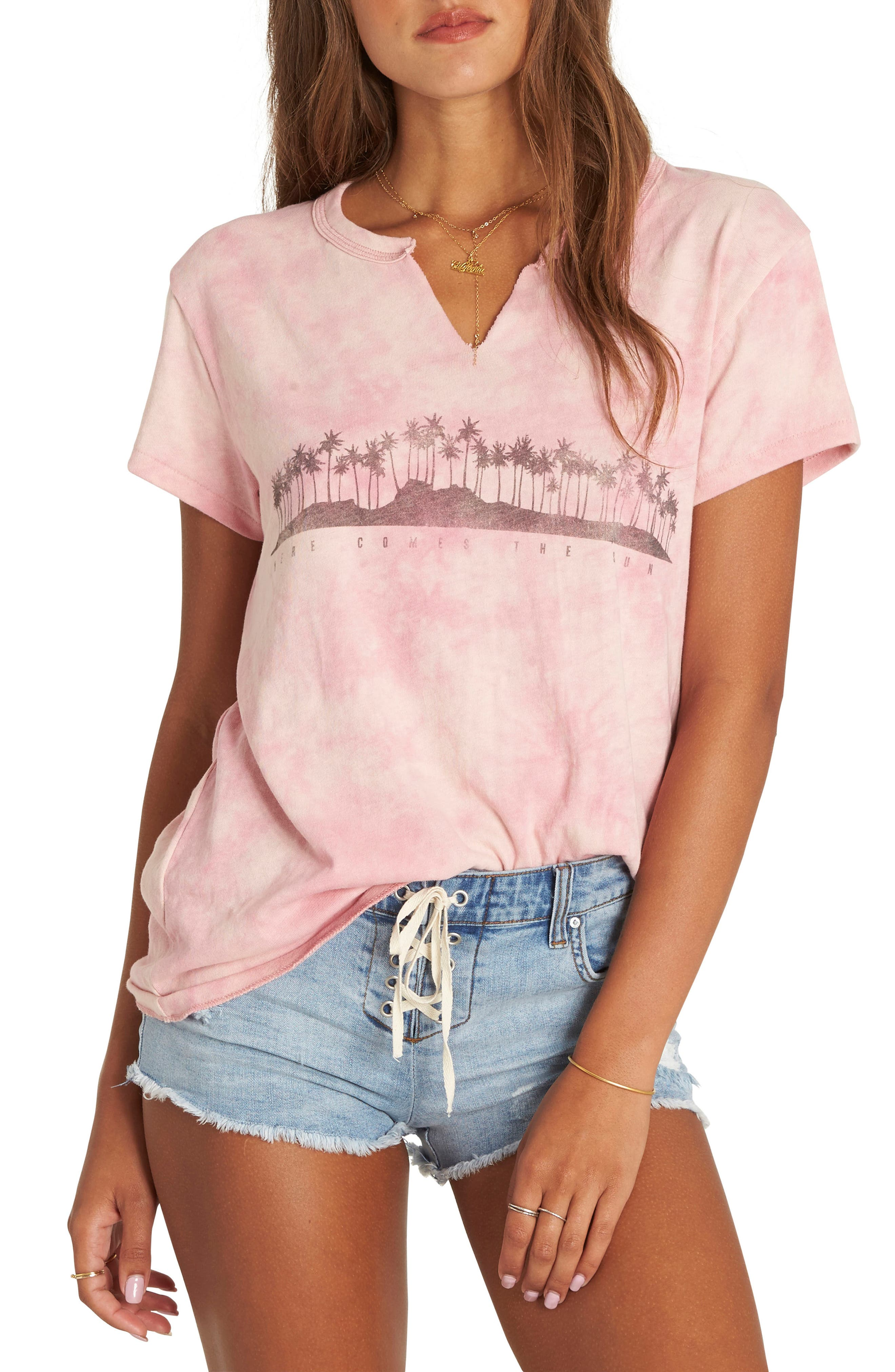 Makin' Waves Cotton Tee,                         Main,                         color, Faded Rose