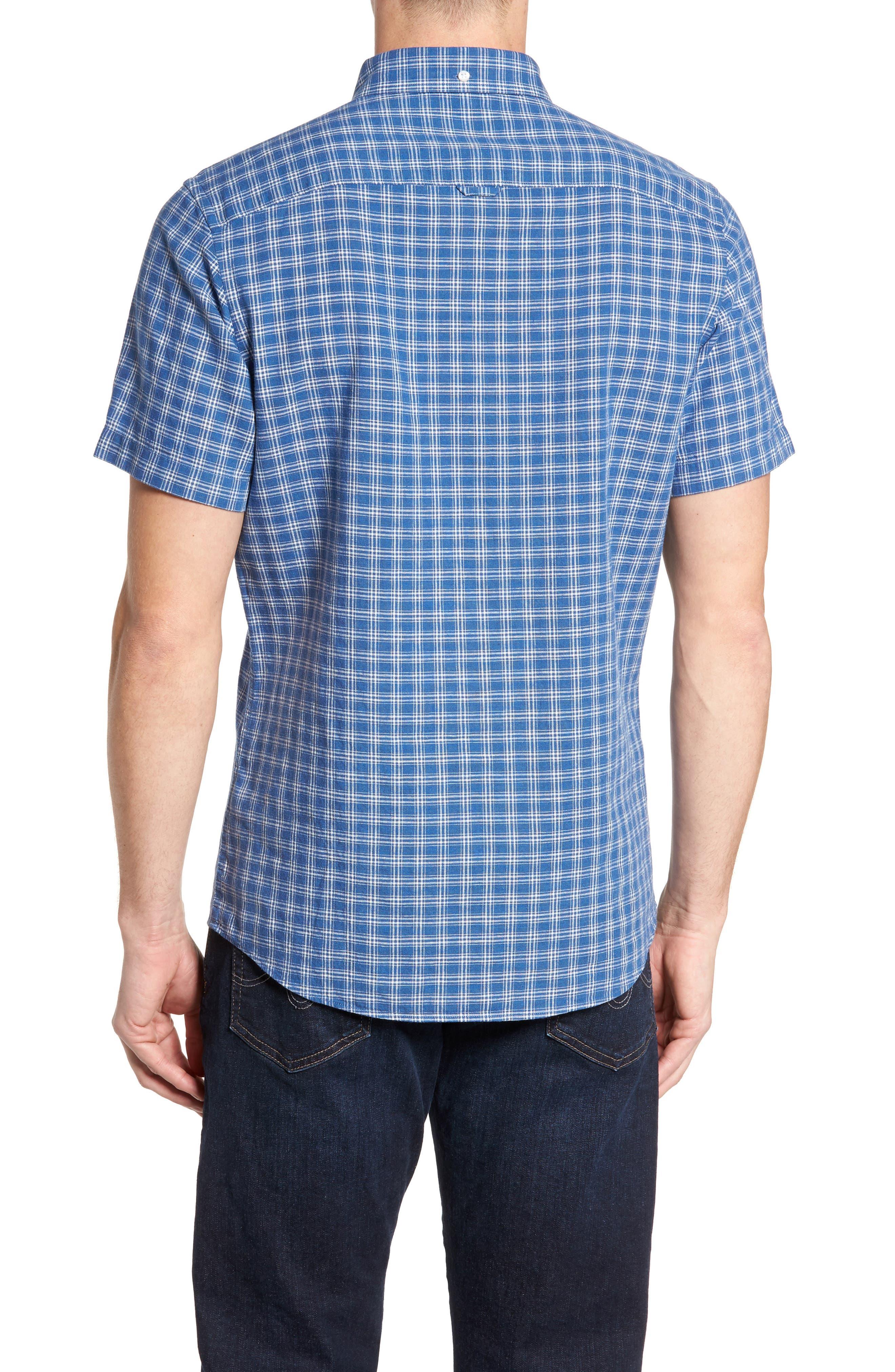 Ivy Trim Fit Check Sport Shirt,                             Alternate thumbnail 3, color,                             Blue Indigo White Plaid