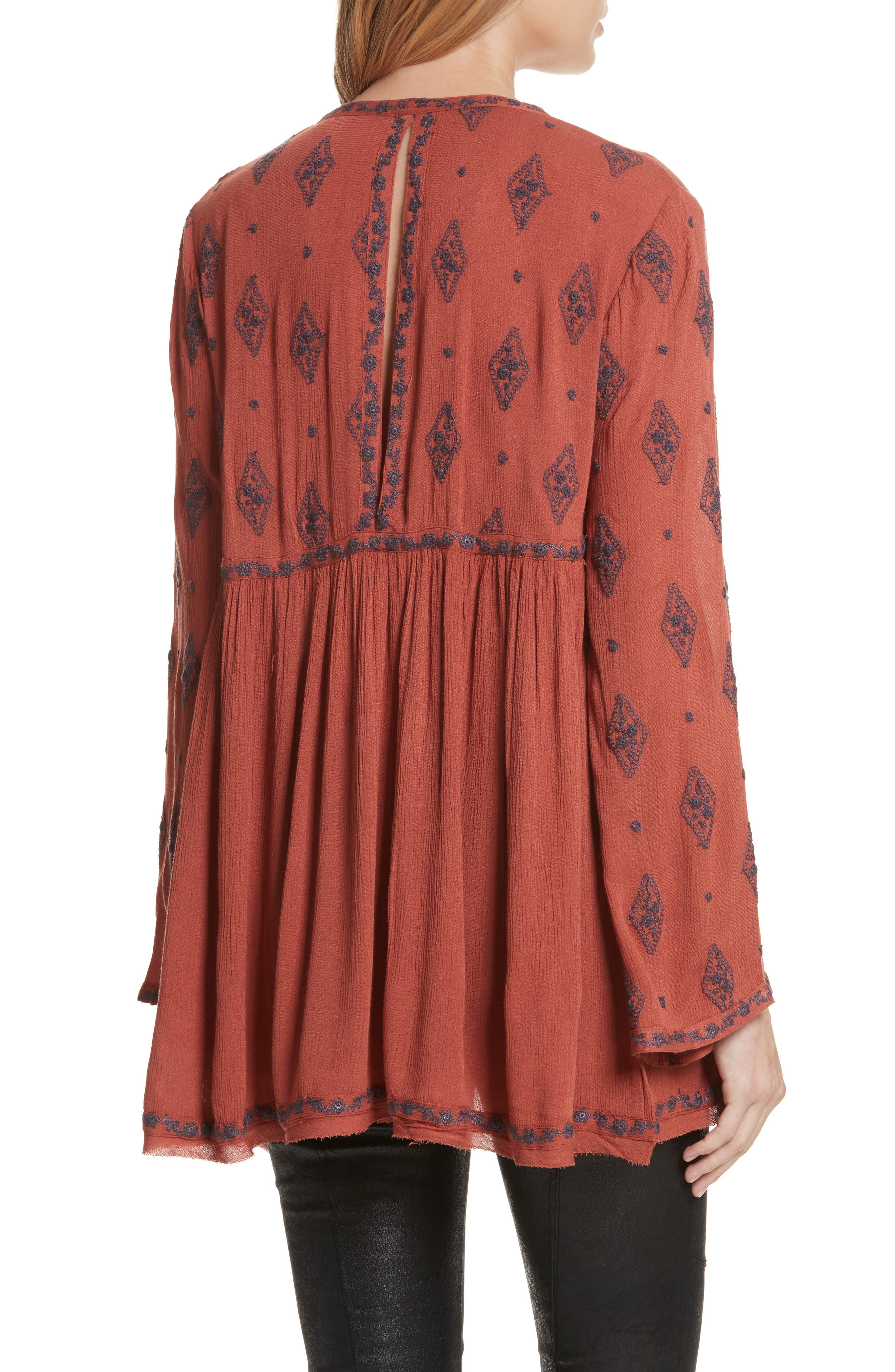 Embroidered Bell Sleeve Top,                             Alternate thumbnail 2, color,                             Cinnamon