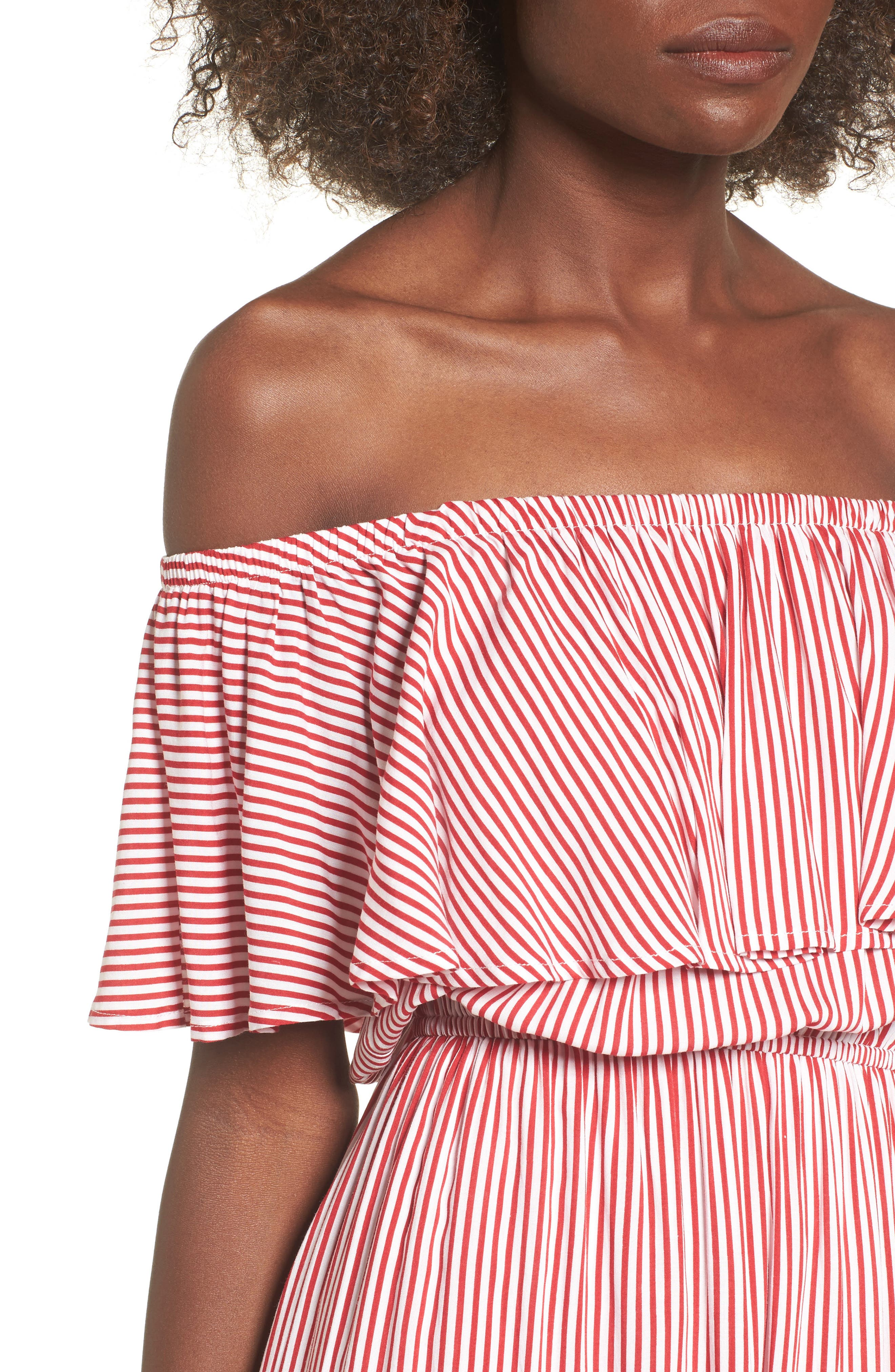 Off the Shoulder High/Low Dress,                             Alternate thumbnail 4, color,                             Red