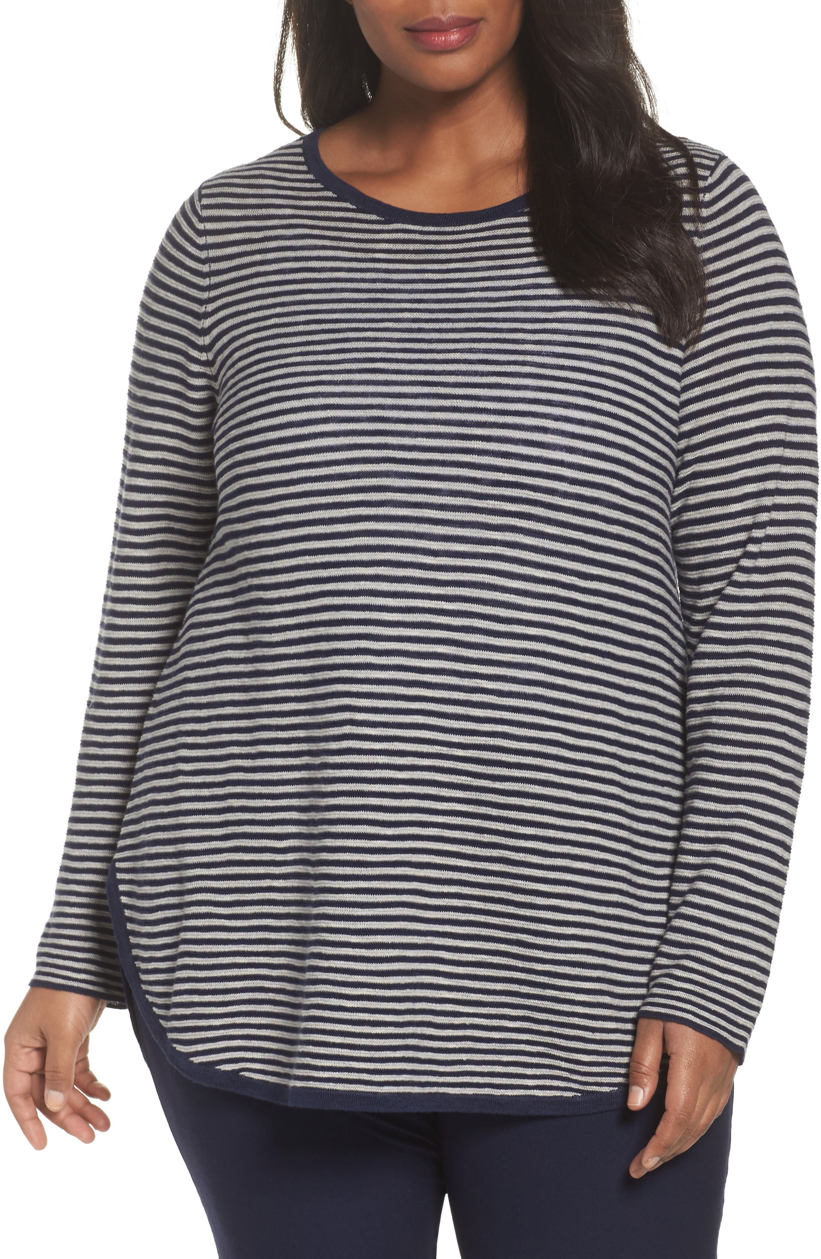 Alternate Image 1 Selected - Eileen Fisher Stripe Organic Linen & Cotton Sweater (Plus Size)