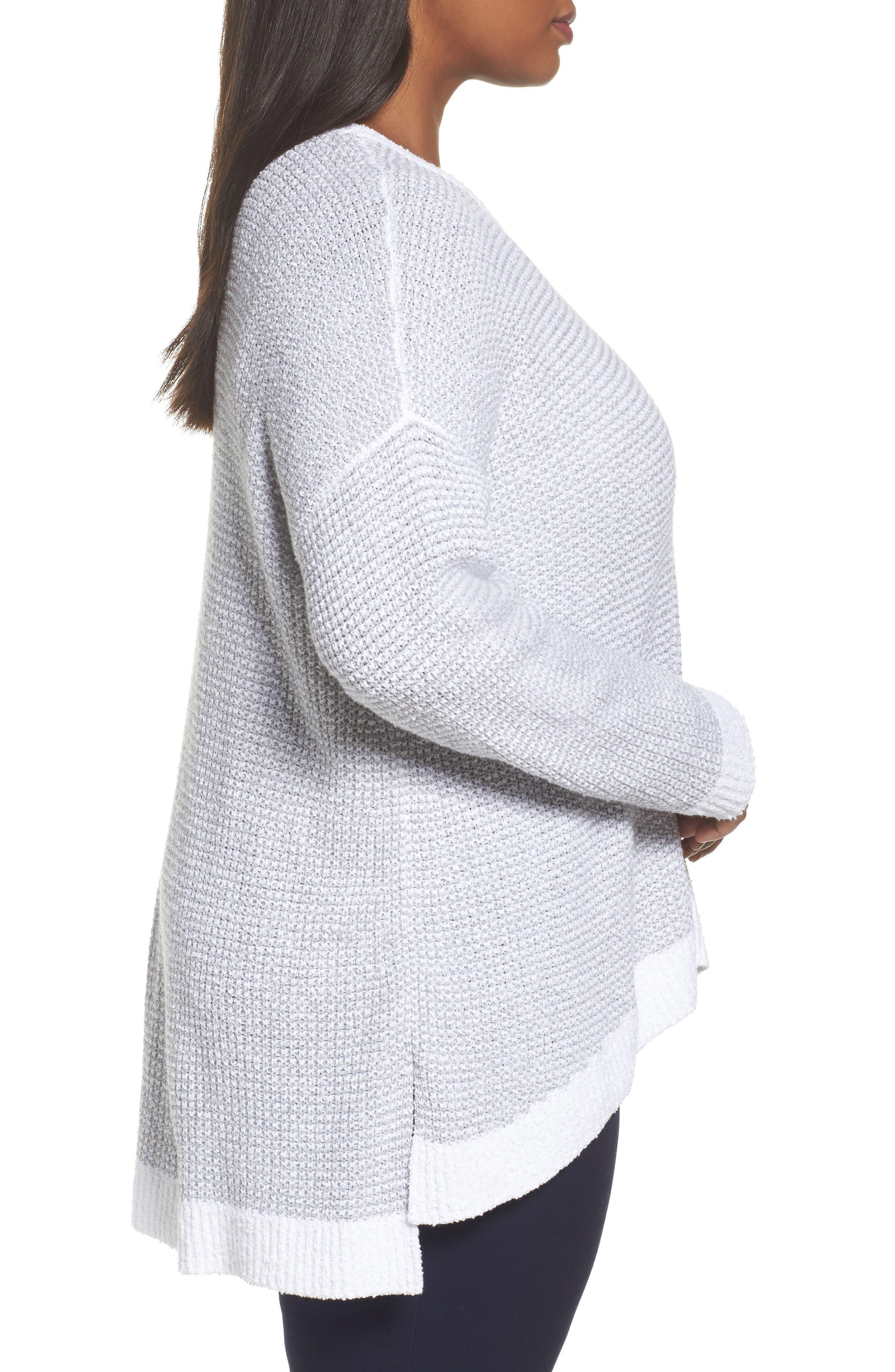 Waffled Organic Cotton Sweater,                             Alternate thumbnail 3, color,                             Grey