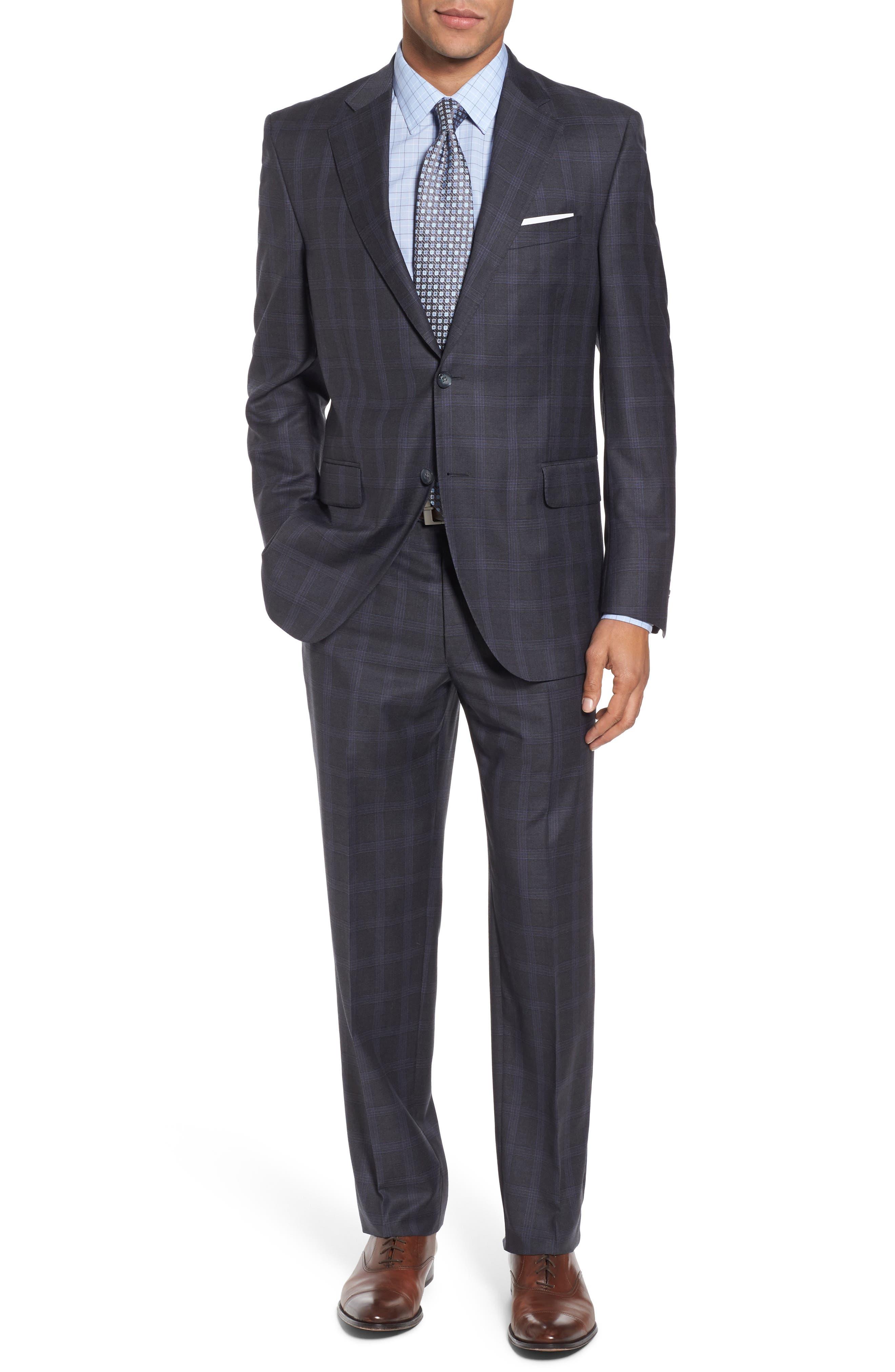 Classic Fit Plaid Wool Suit,                             Main thumbnail 1, color,                             Grey