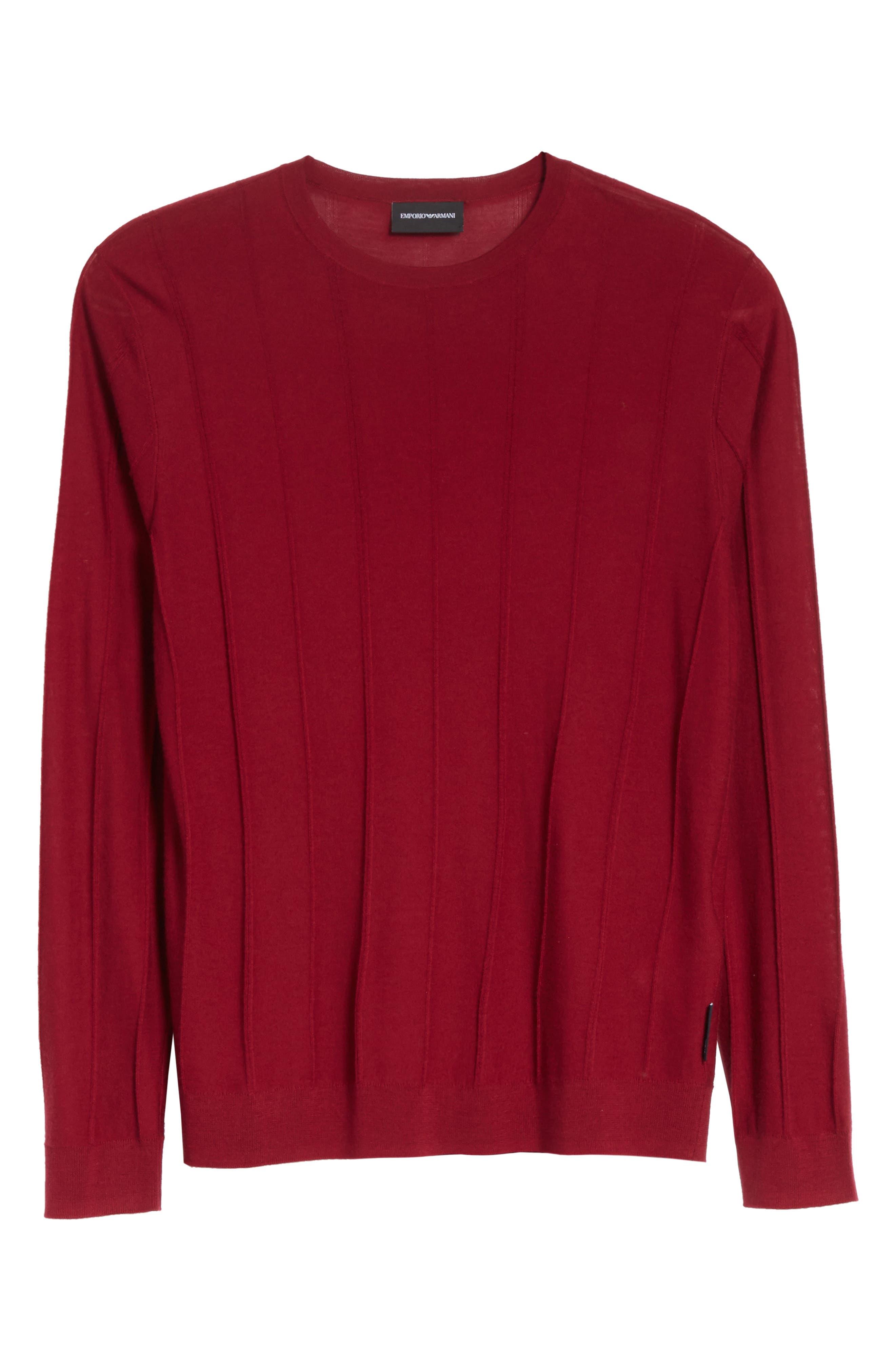 Slim Fit Wool Crewneck Sweater,                             Alternate thumbnail 6, color,                             Borgogna