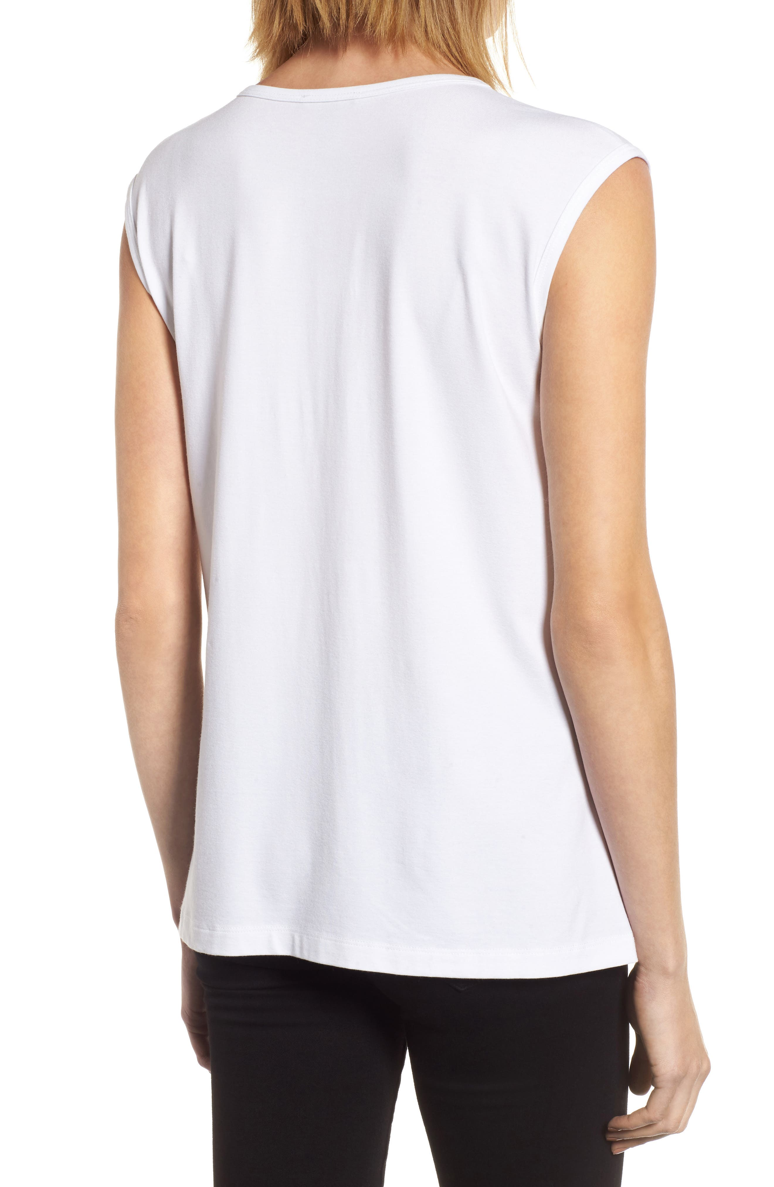 U-Neck Stretch Jersey Tunic,                             Alternate thumbnail 3, color,                             White
