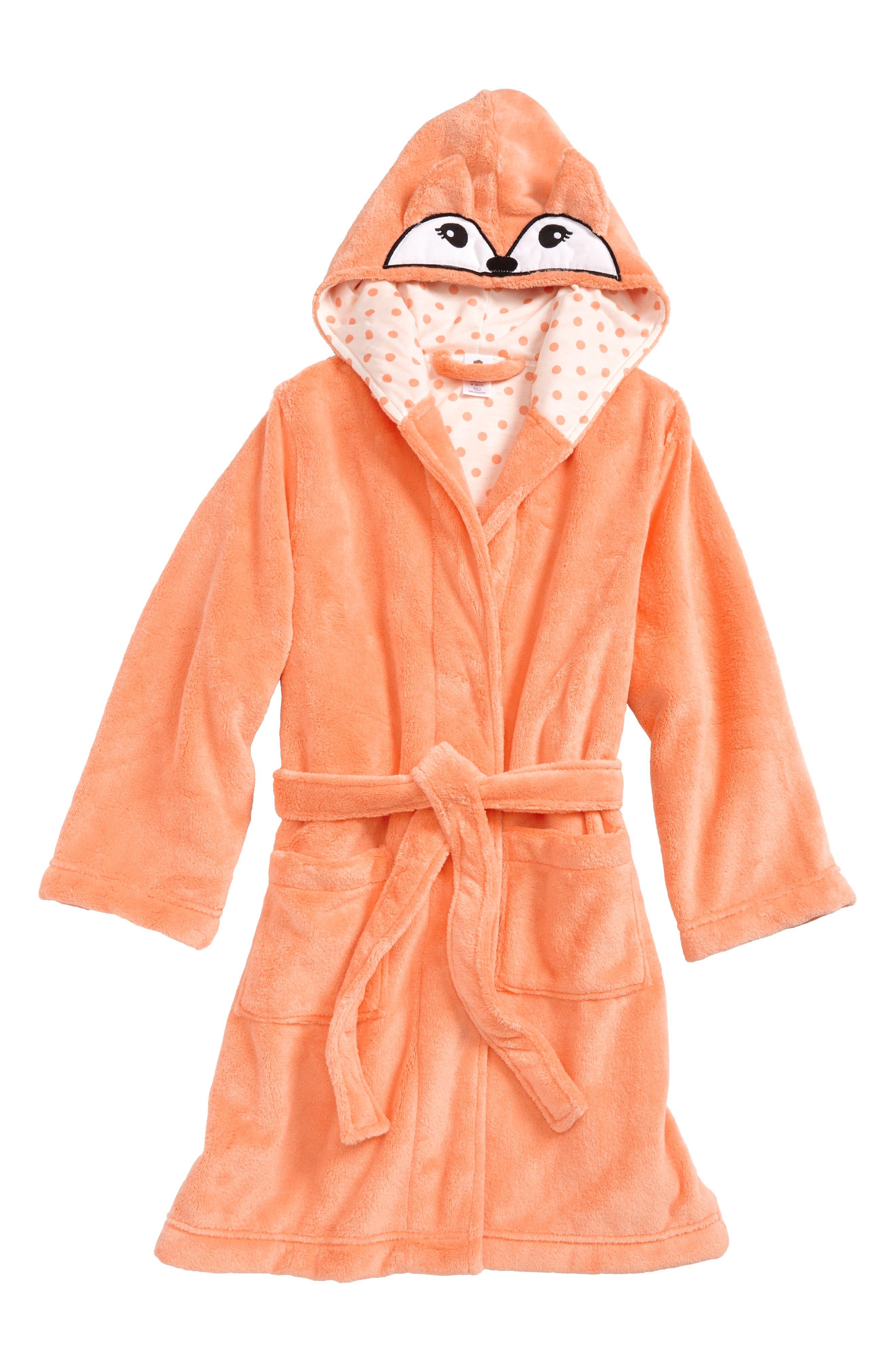 Fox Plush Robe,                         Main,                         color, Coral Starfish Fox