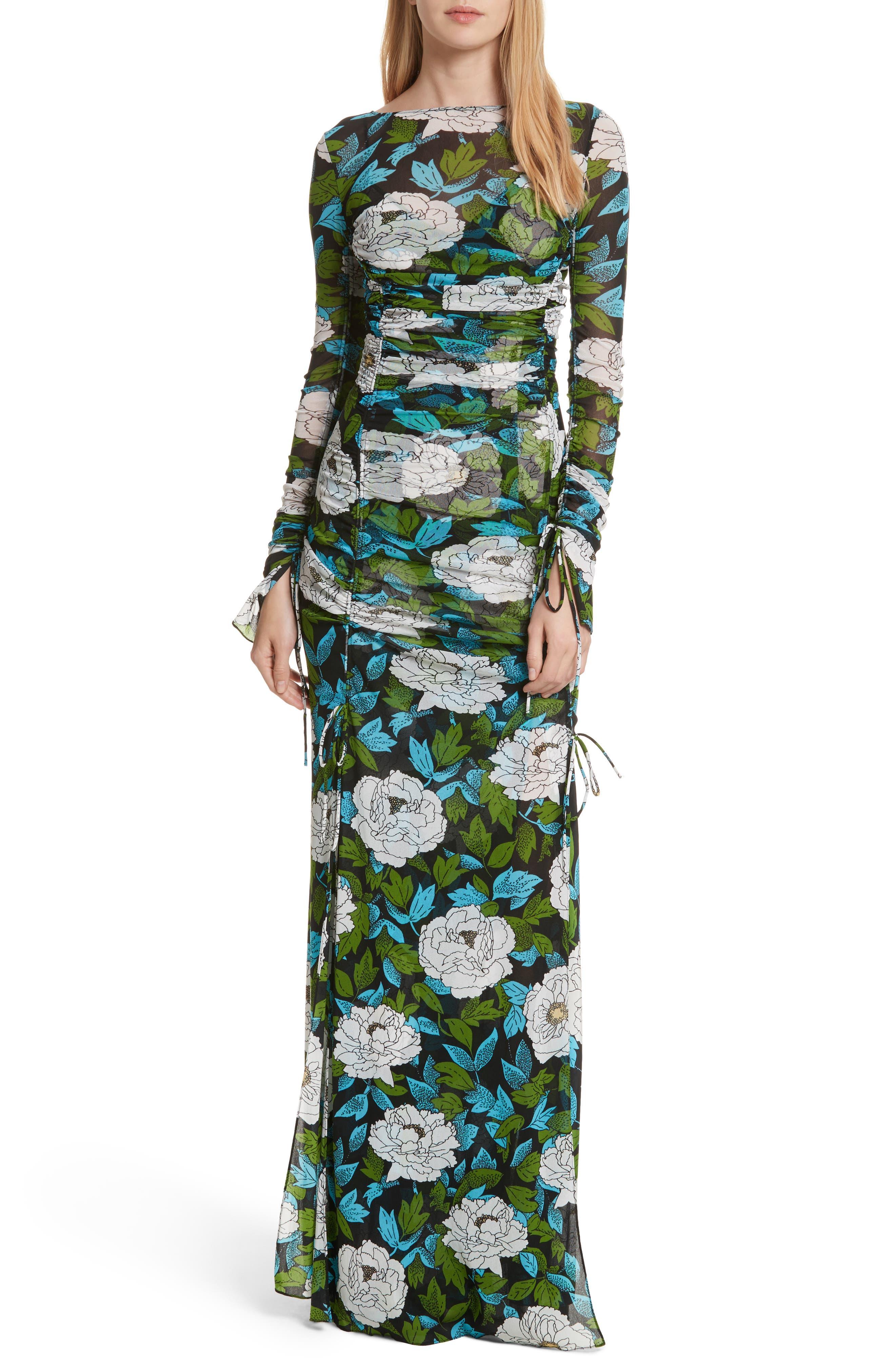 Diane von Furstenberg Fitted Mesh Maxi Dress