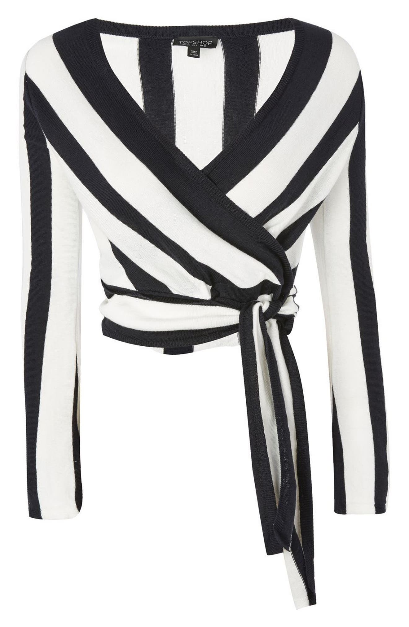 Stripe Knit Wrap Top,                             Alternate thumbnail 4, color,                             Navy Blue Multi