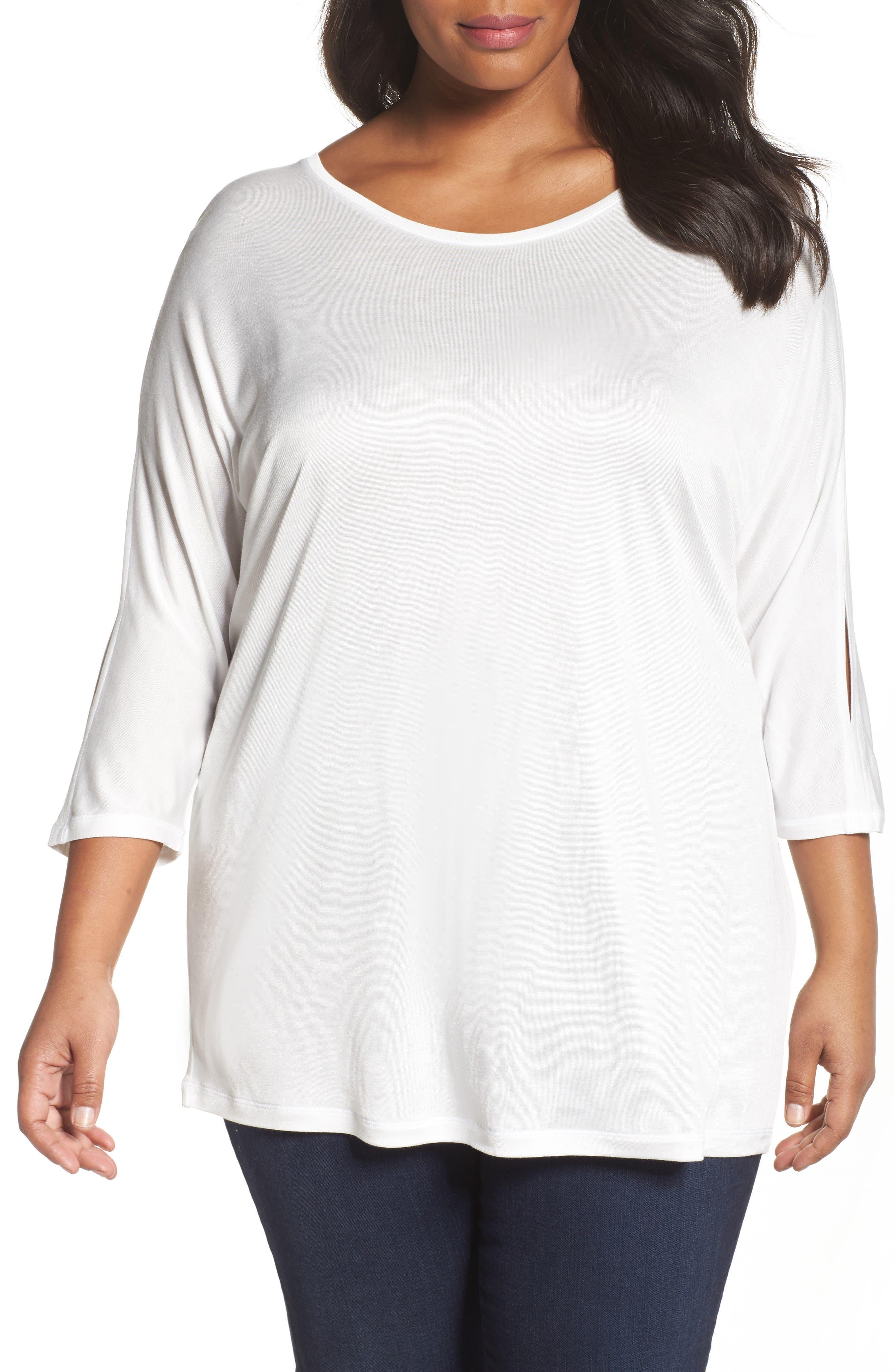 Sejour Slit Sleeve Top (Plus Size)