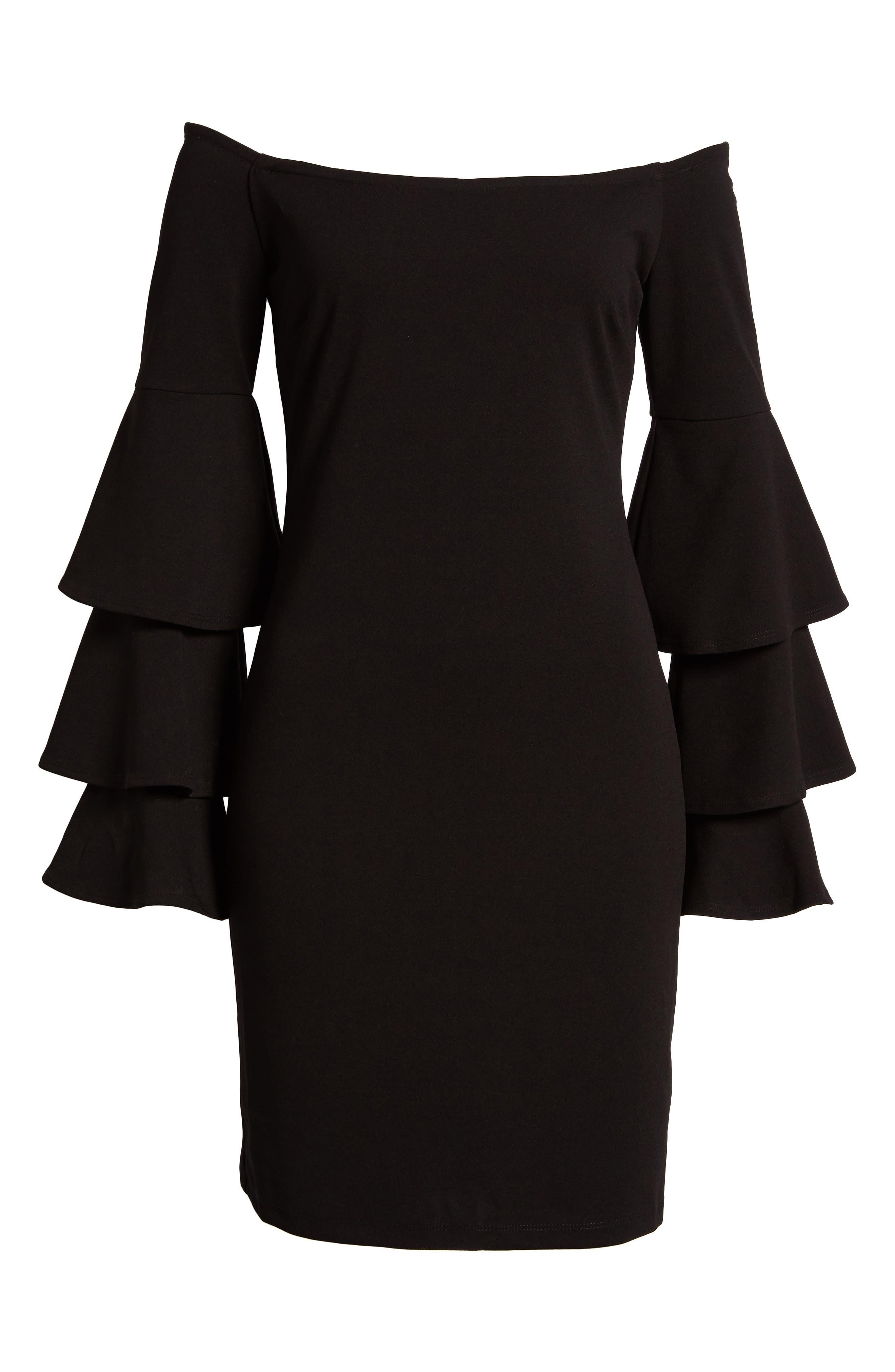 Ruffle Sleeve Off the Shoulder Dress,                             Alternate thumbnail 6, color,                             Black