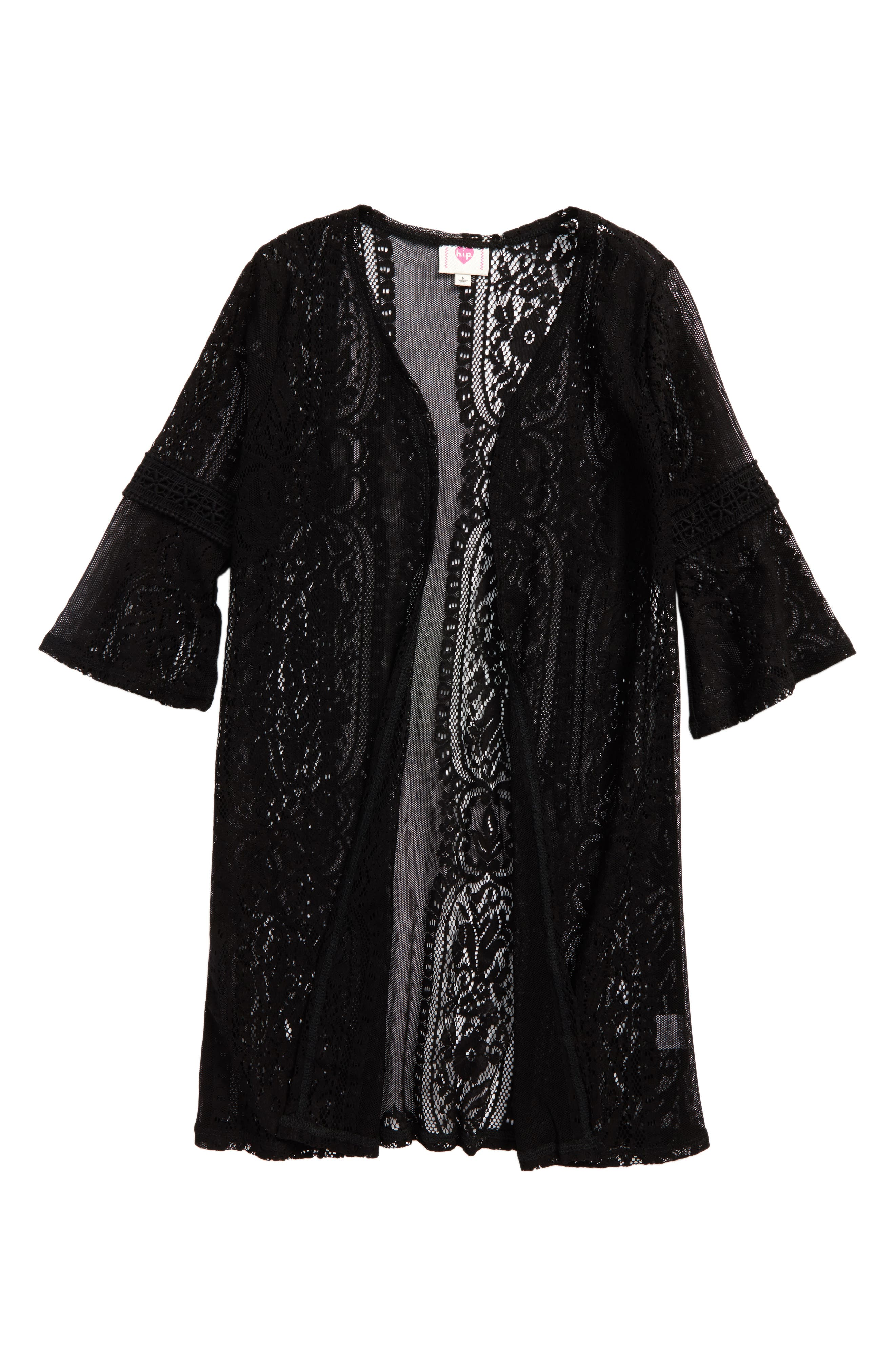 Lace Cardigan,                             Main thumbnail 1, color,                             Black