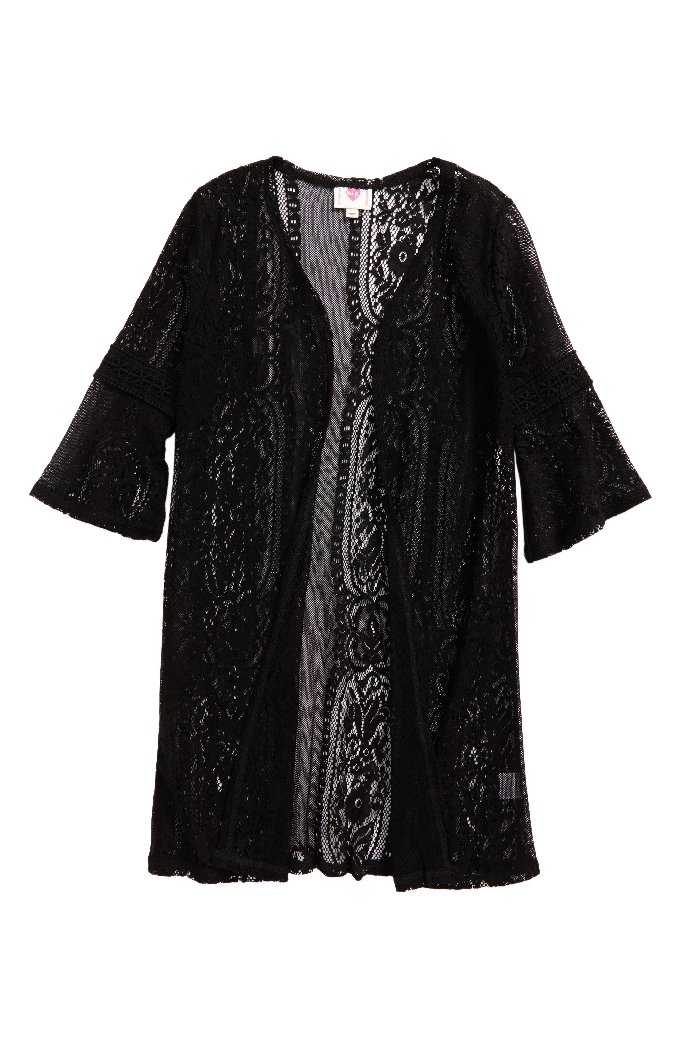 Lace Cardigan,                         Main,                         color, Black
