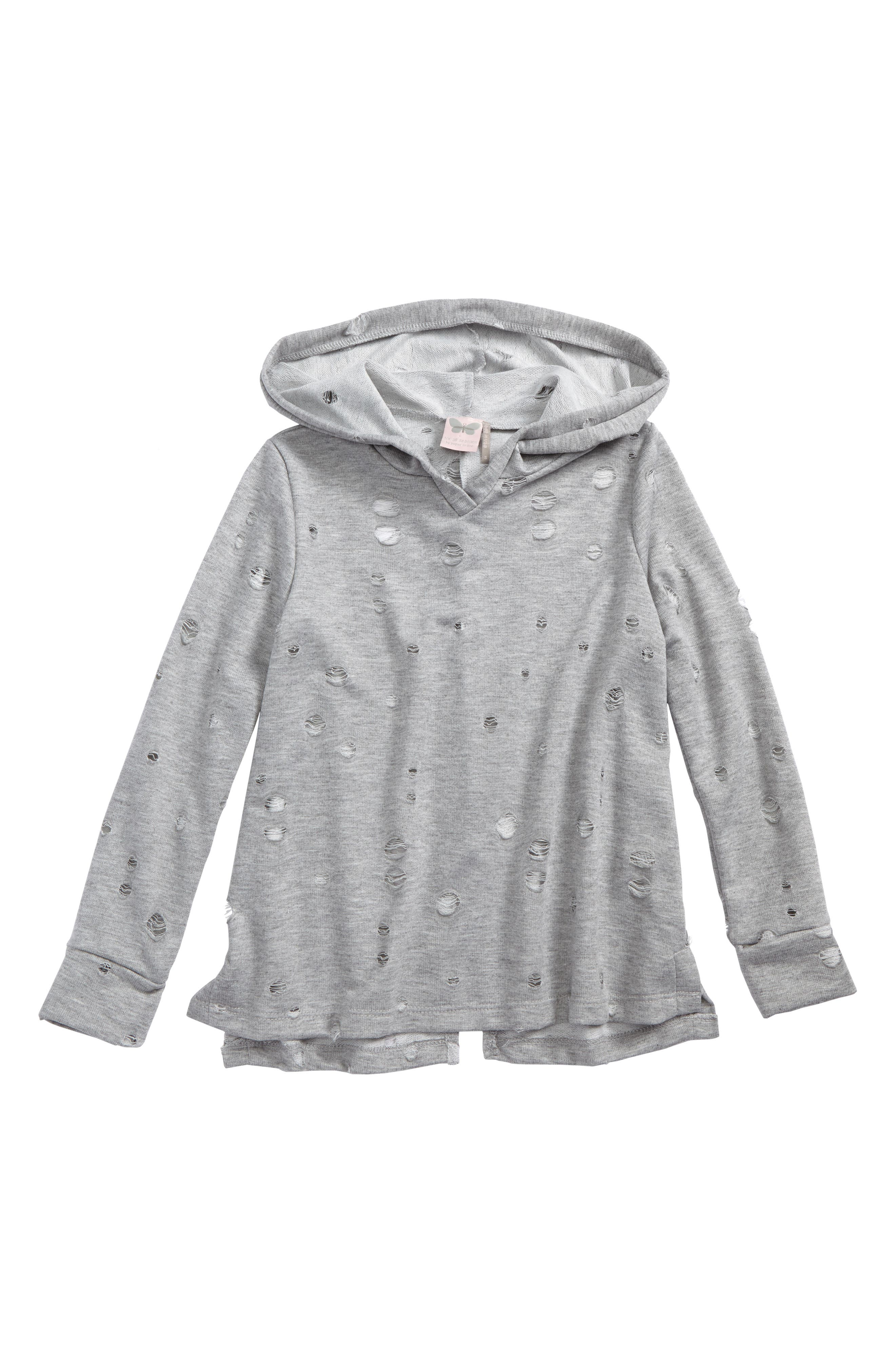 Holey Hoodie,                         Main,                         color, Gray