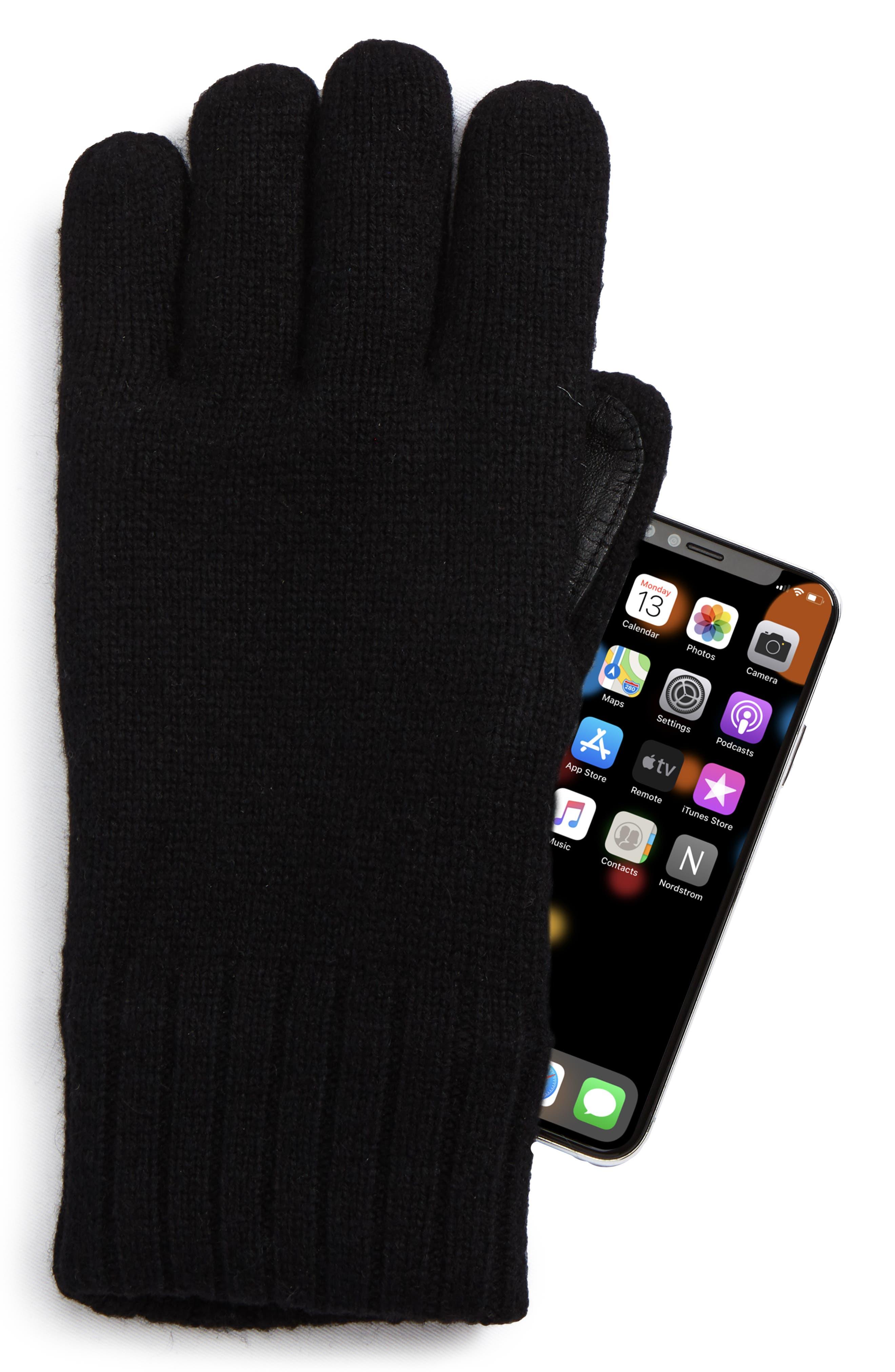 Smart Wool Blend Gloves,                             Alternate thumbnail 2, color,                             Black