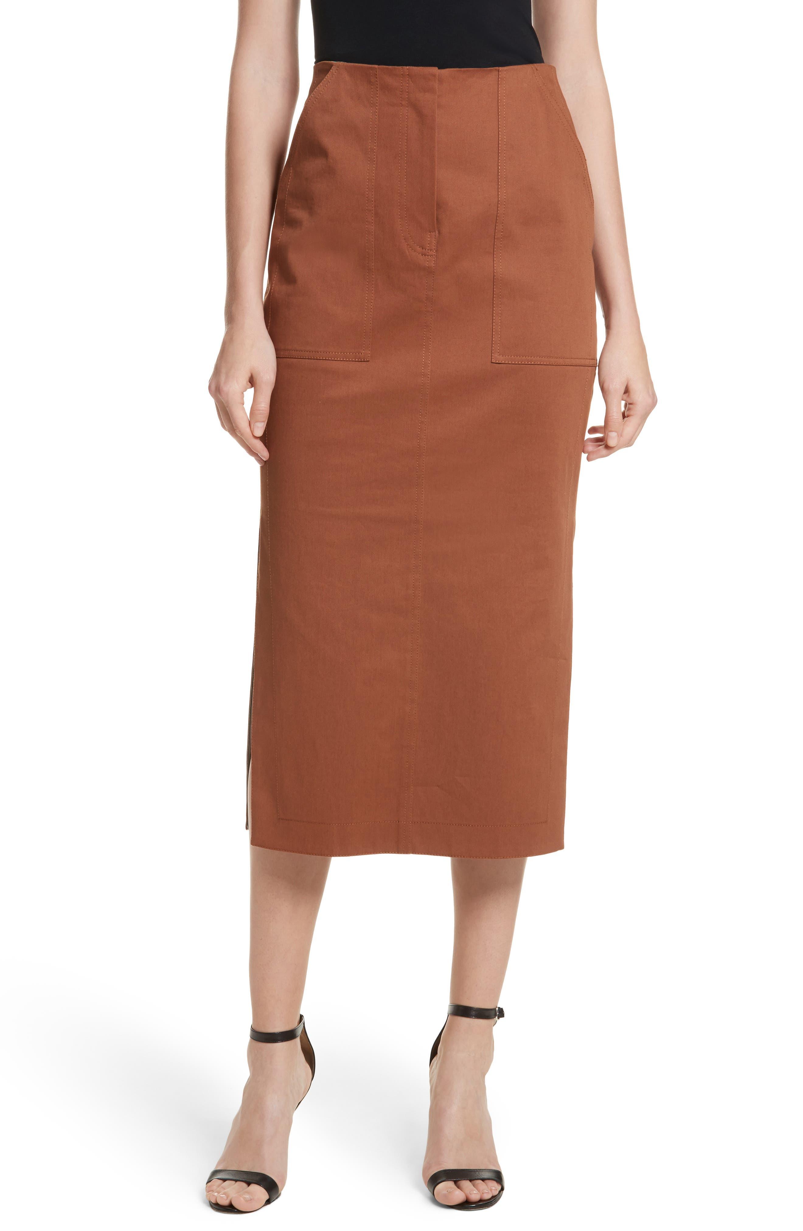 Diane von Furstenberg Midi Twill Pencil Skirt,                         Main,                         color, Caramel