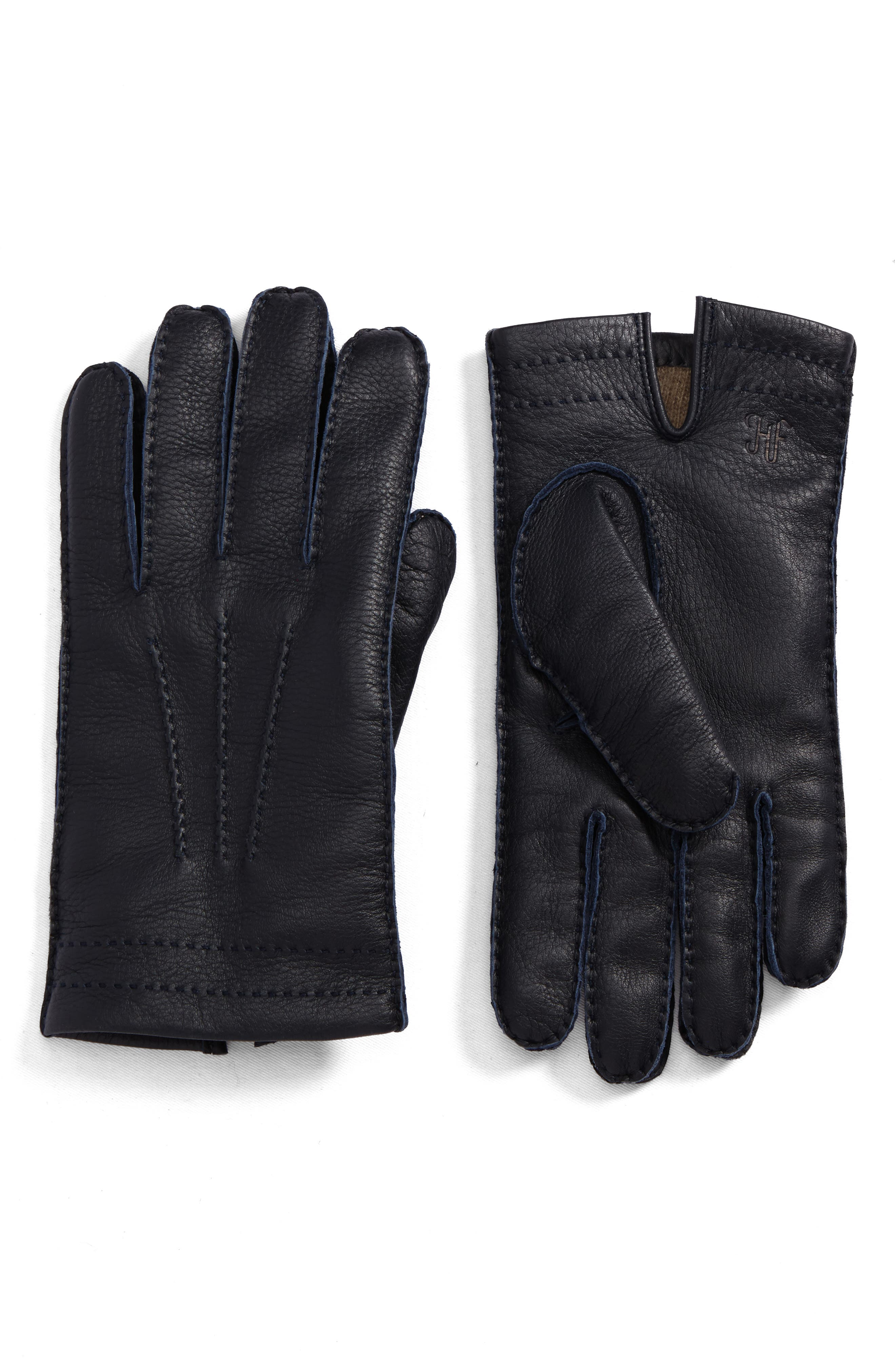 Deerskin Leather Gloves,                             Main thumbnail 1, color,                             Blue