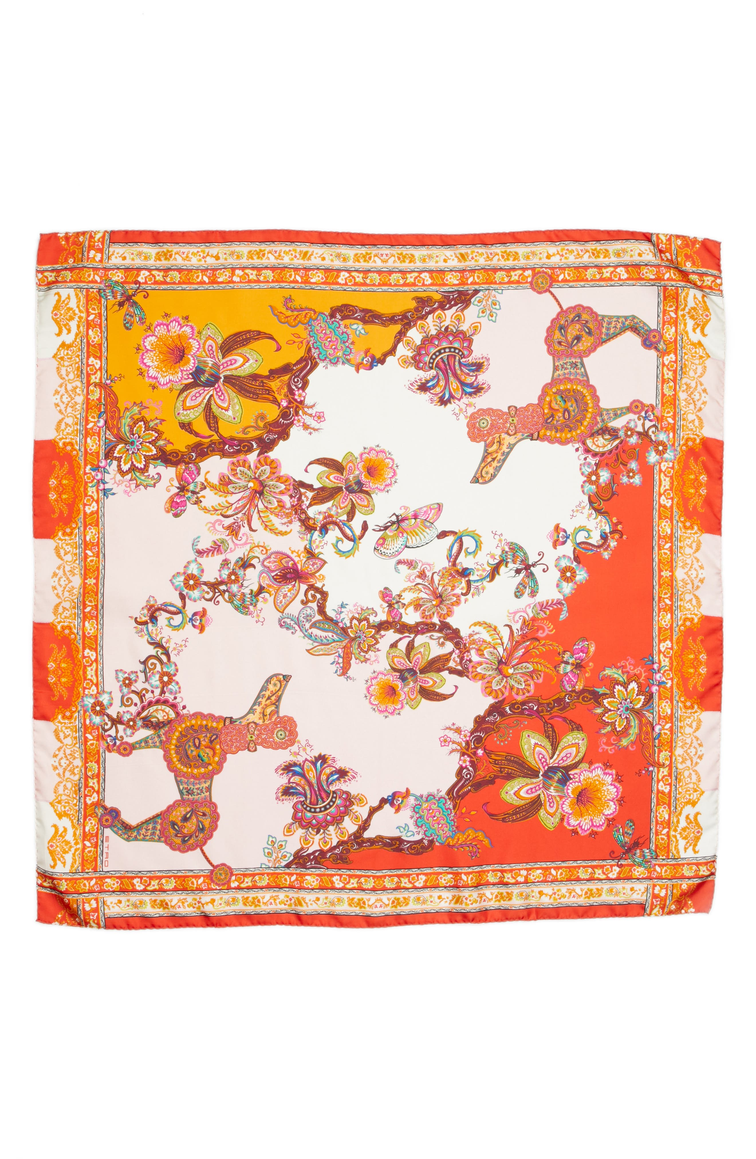 Etro Year of the Dog Square Silk Scarf