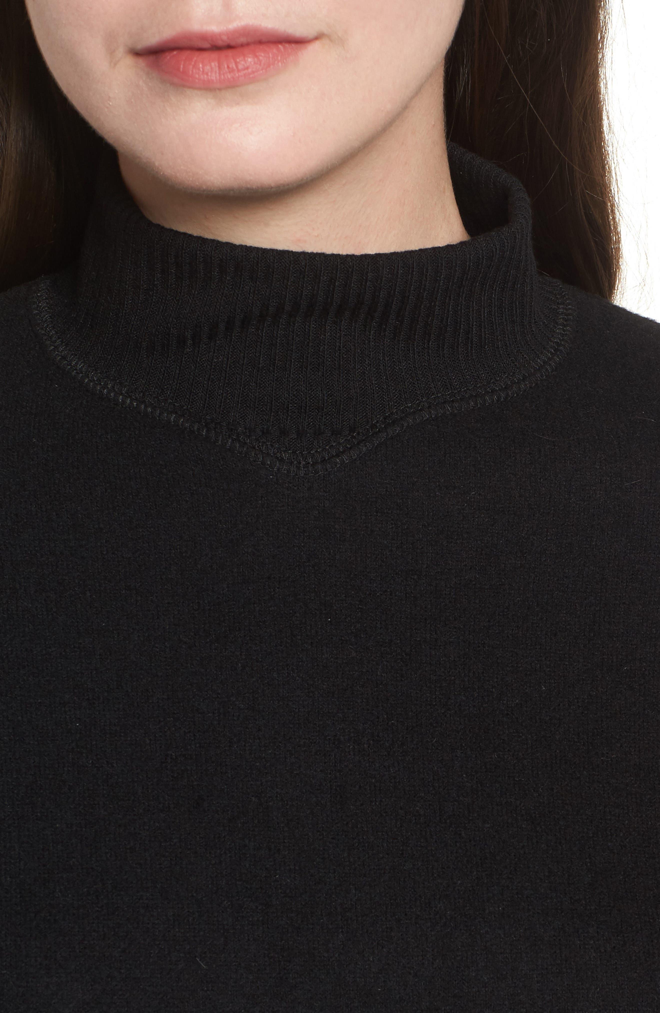 Crop Mock Neck Pullover,                             Alternate thumbnail 4, color,                             Black