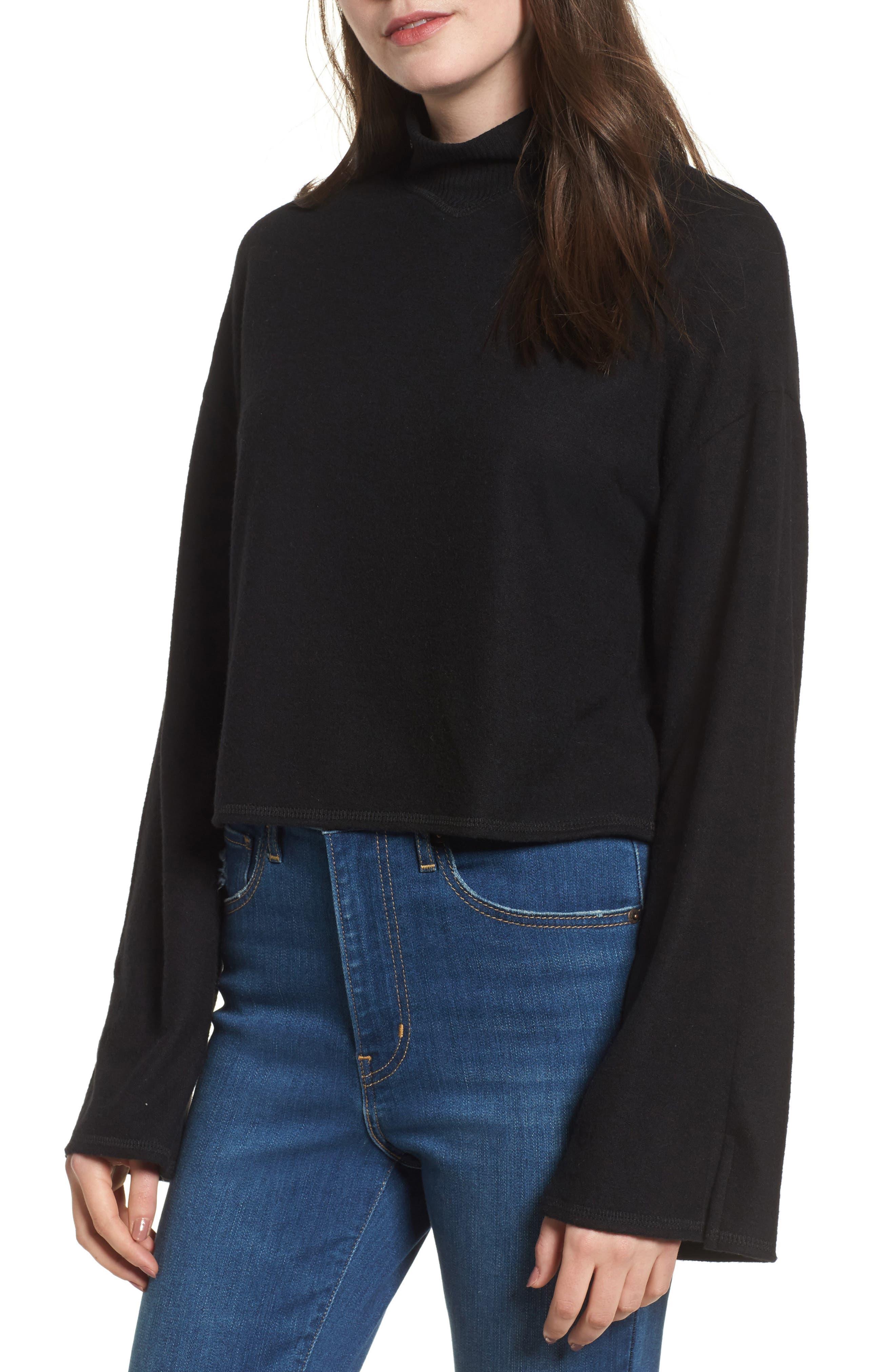 Crop Mock Neck Pullover,                             Main thumbnail 1, color,                             Black
