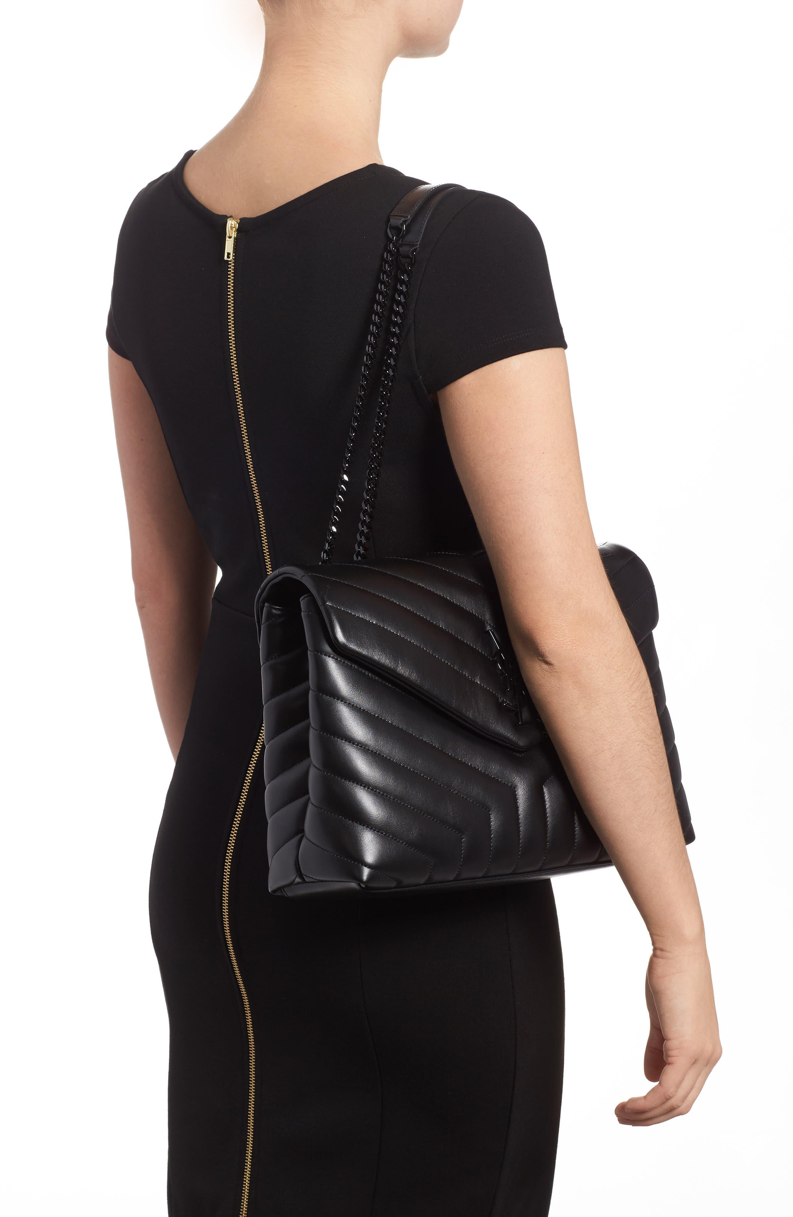 Medium Loulou Matelassé Leather Shoulder Bag,                             Alternate thumbnail 2, color,                             Noir