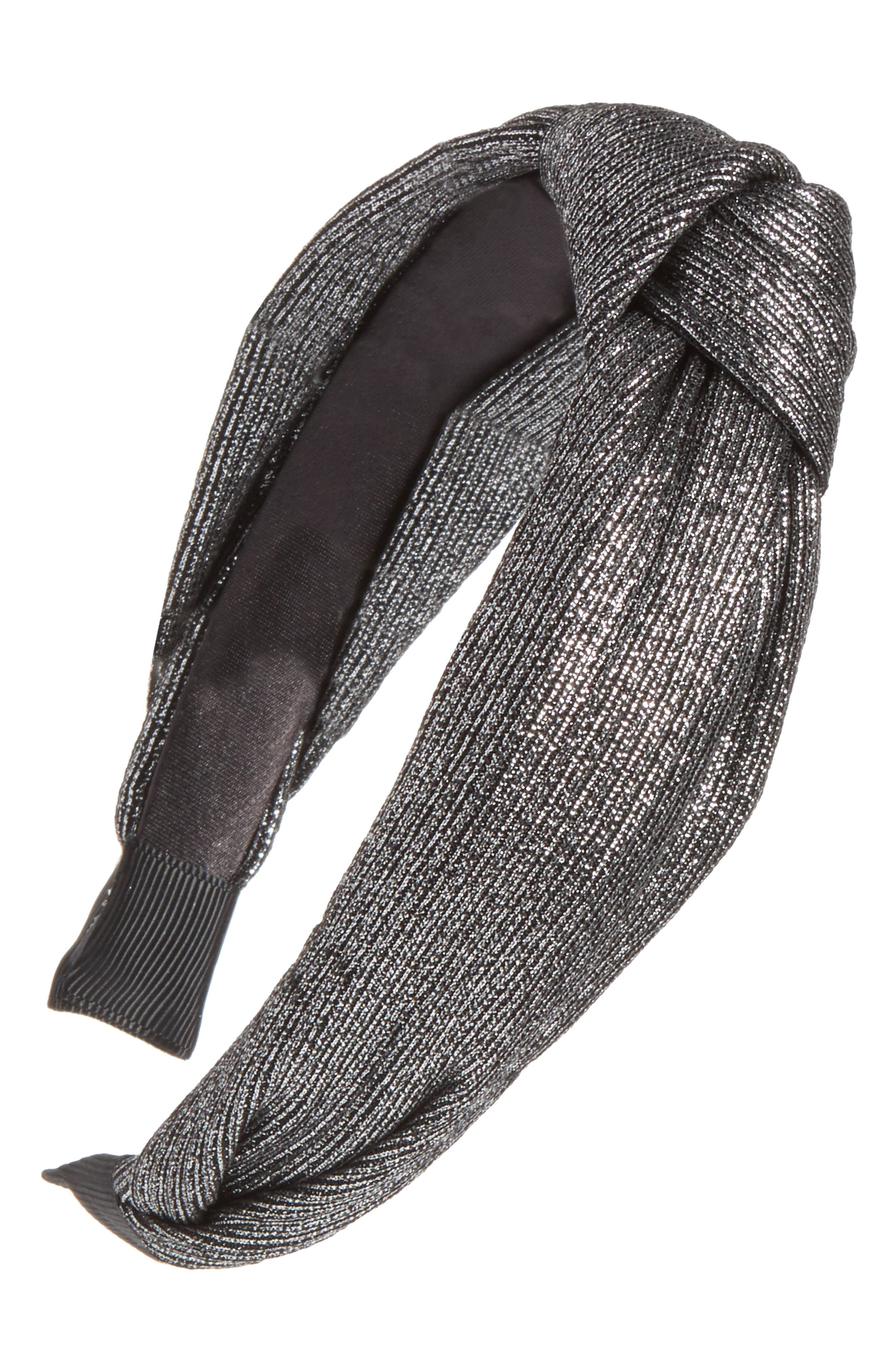 Metallic Knot Headband,                         Main,                         color, Gunmetal