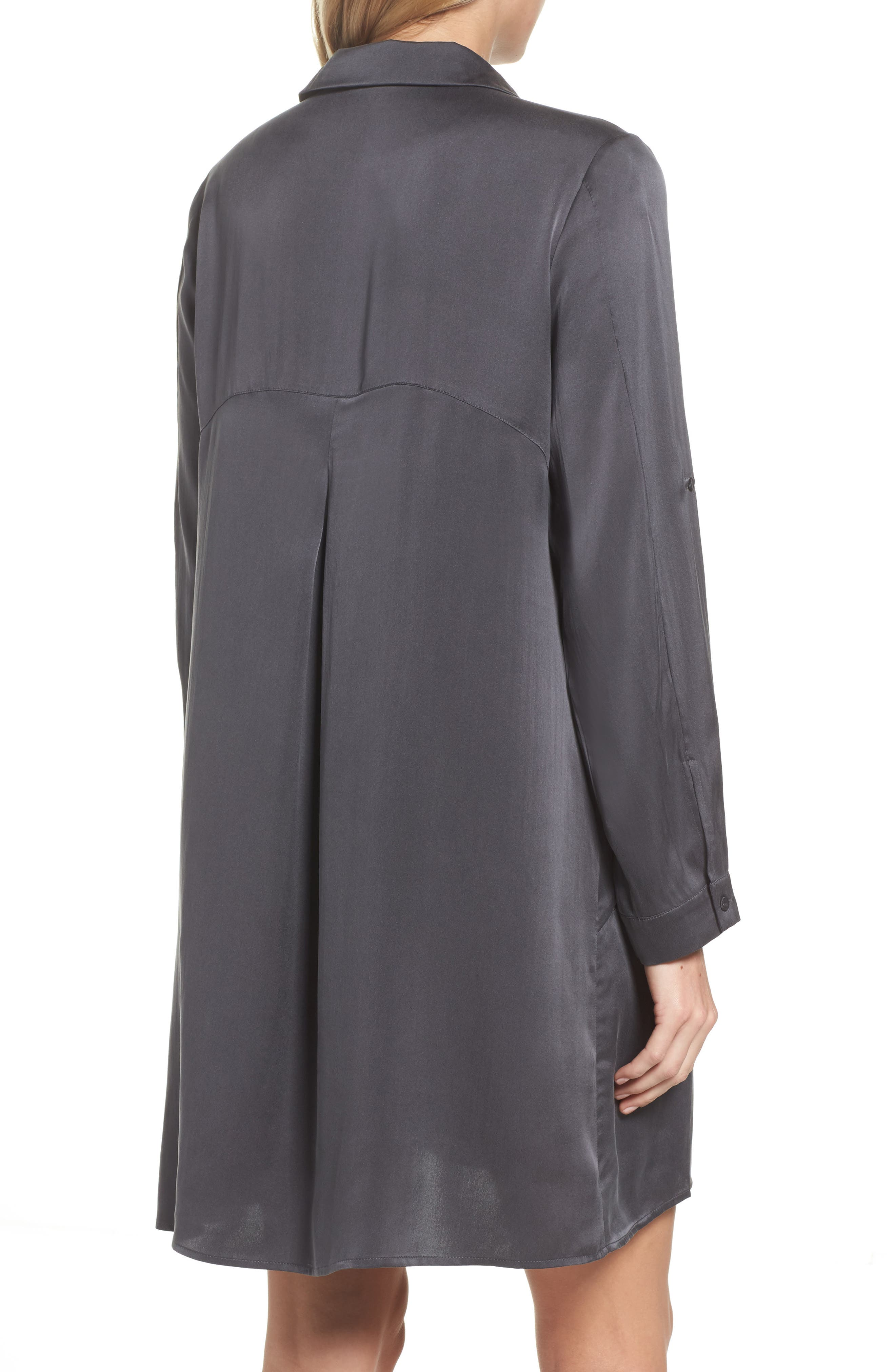 Silk Sleep Shirt,                             Alternate thumbnail 2, color,                             Dark Slate
