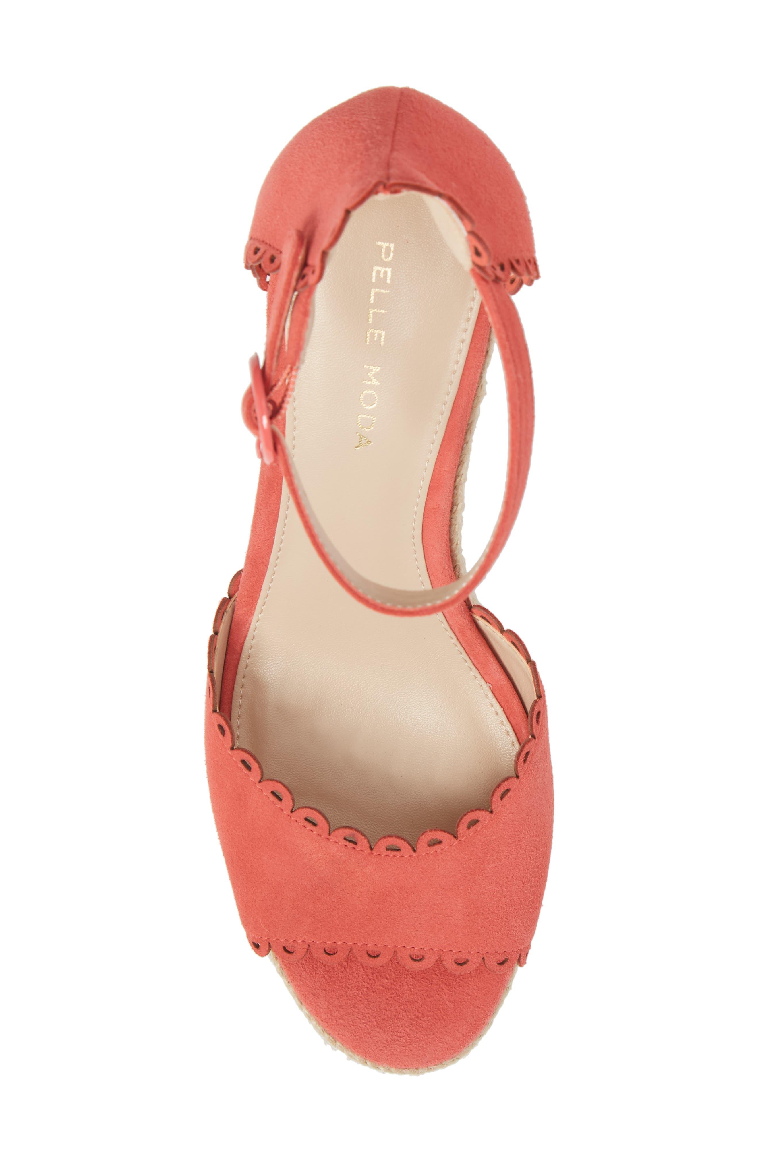 Raine Platform Espadrille Sandal,                             Alternate thumbnail 5, color,                             Flamingo Suede