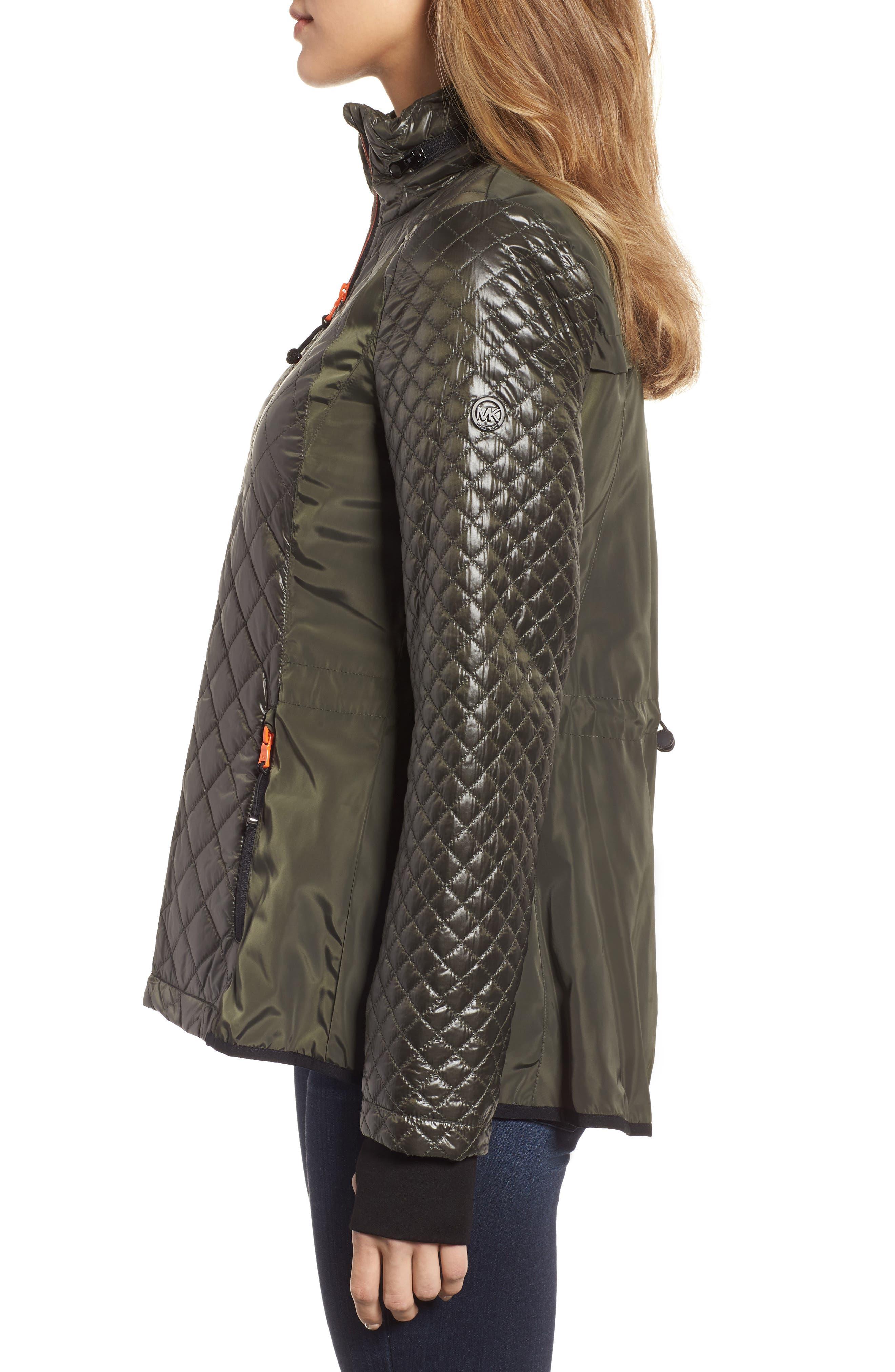 Neoprene & Diamond Quilted Jacket,                             Alternate thumbnail 3, color,                             Olive