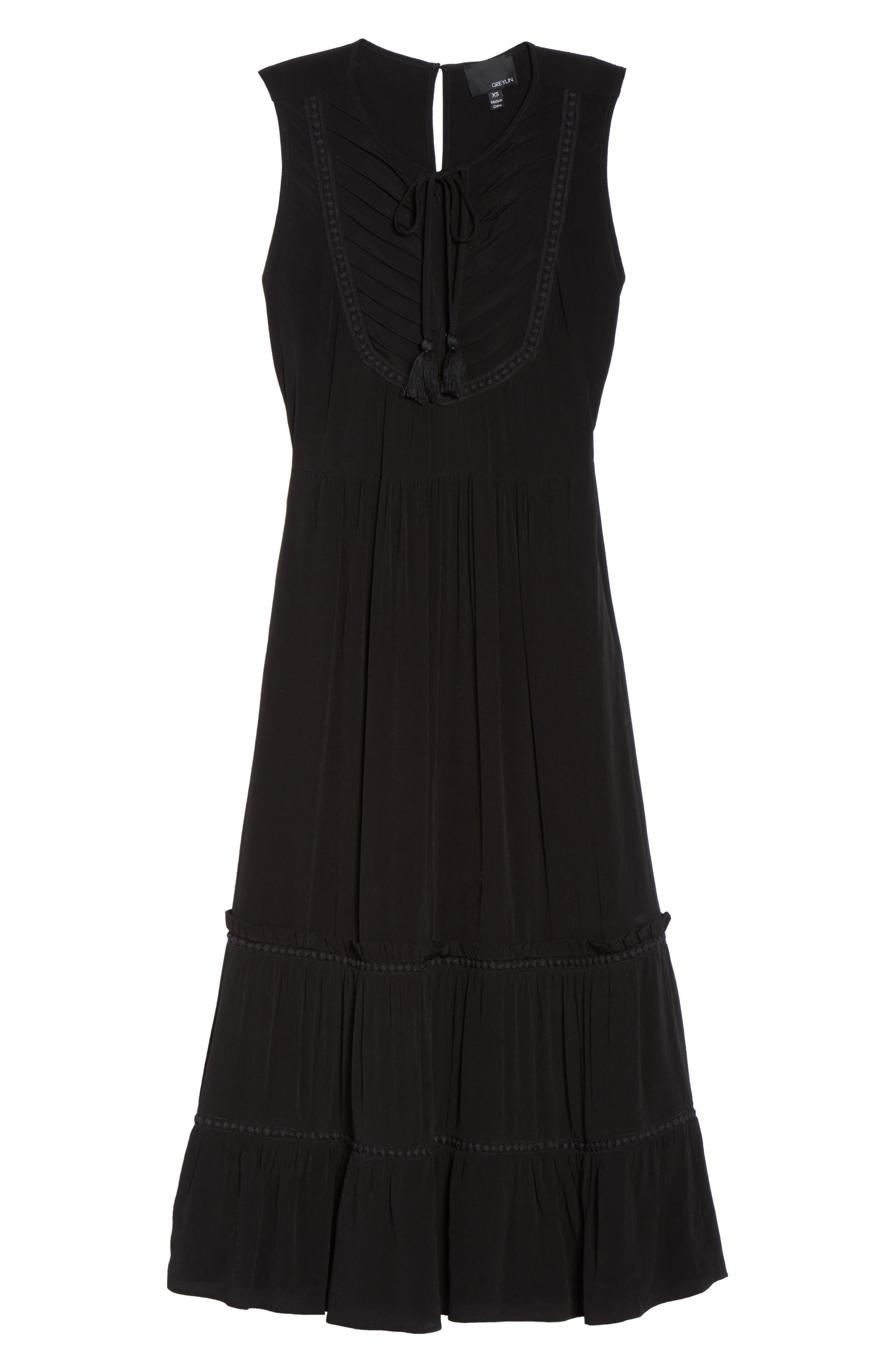 Luna Midi Dress,                             Alternate thumbnail 6, color,                             Black