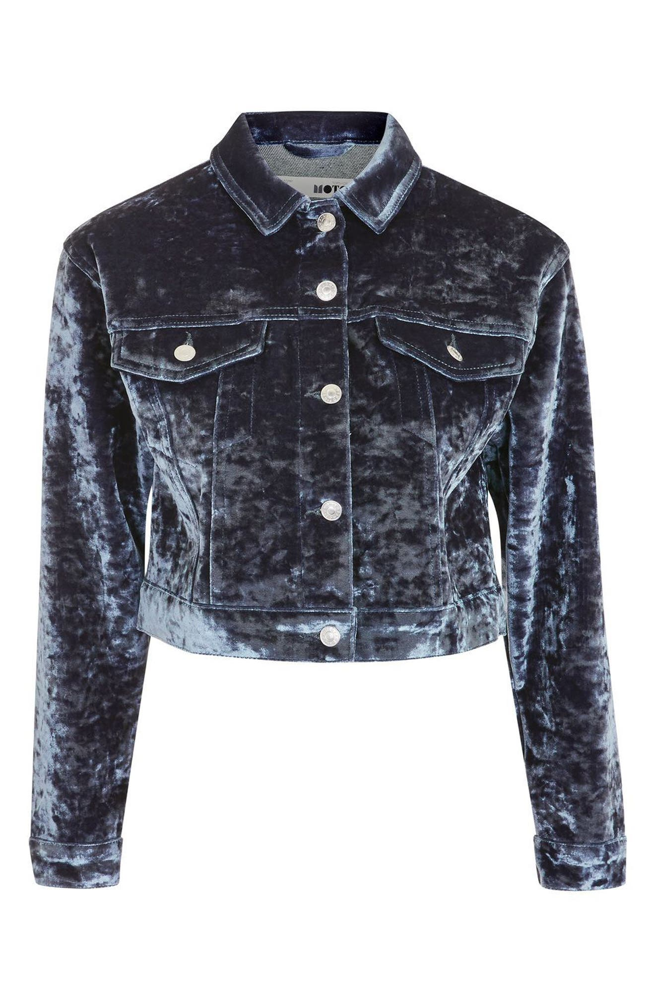 Bonded Velvet Jacket,                             Alternate thumbnail 4, color,                             Blue