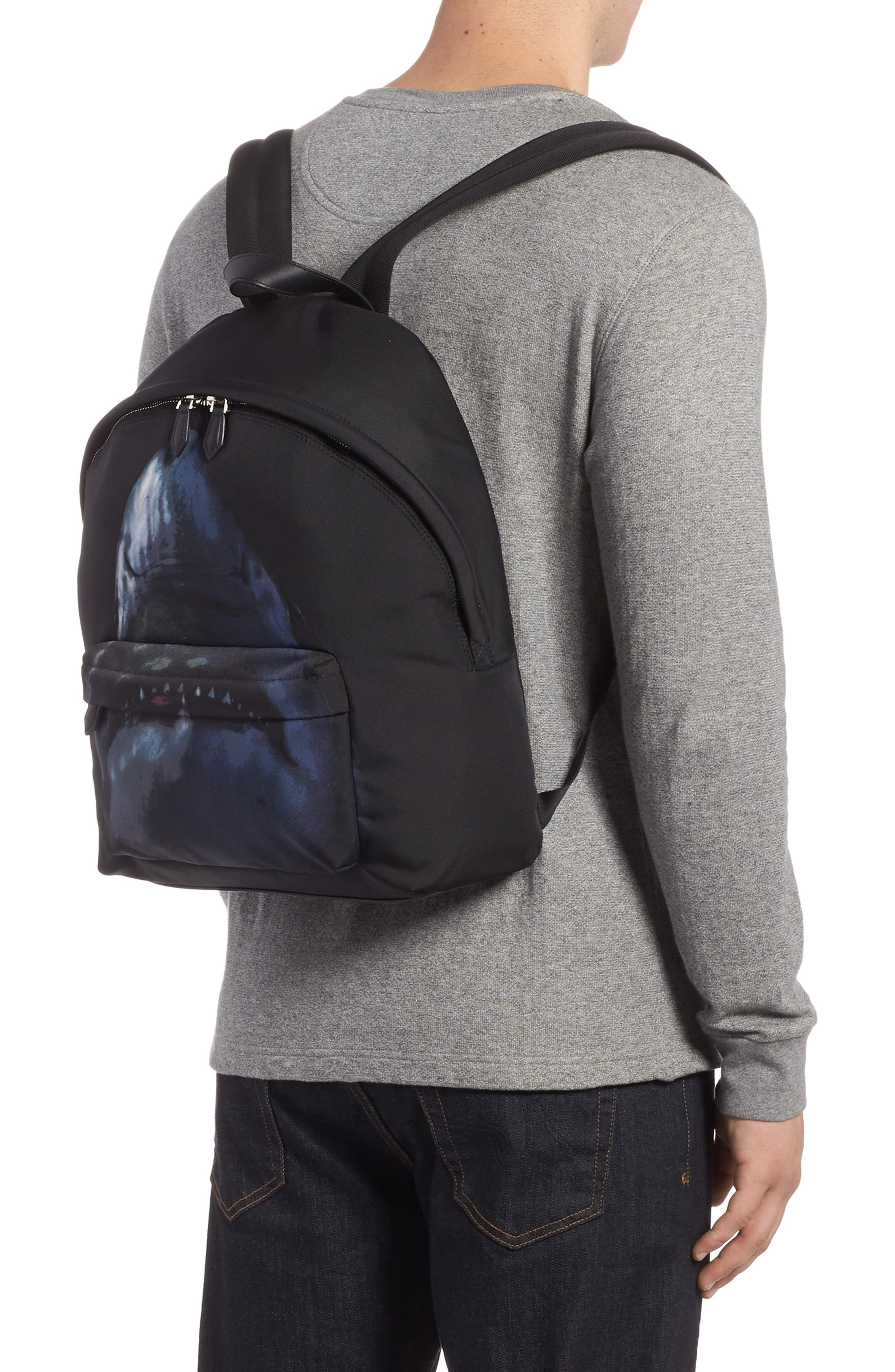 Shark Print Backpack,                             Alternate thumbnail 2, color,                             Multicolored
