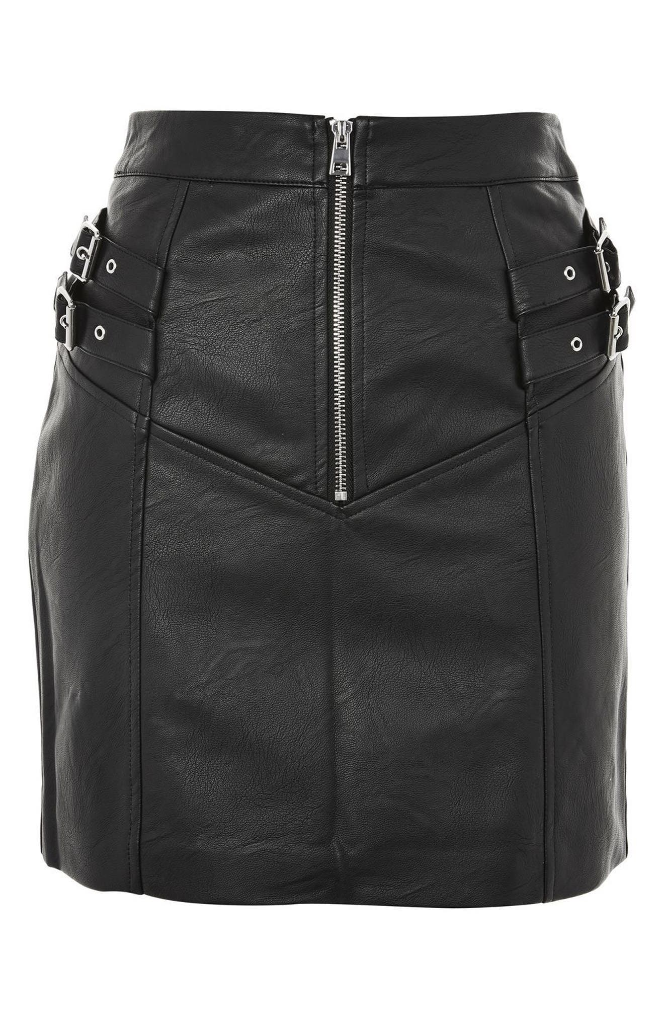 Alternate Image 4  - Topshop Double Buckle Faux Leather Miniskirt