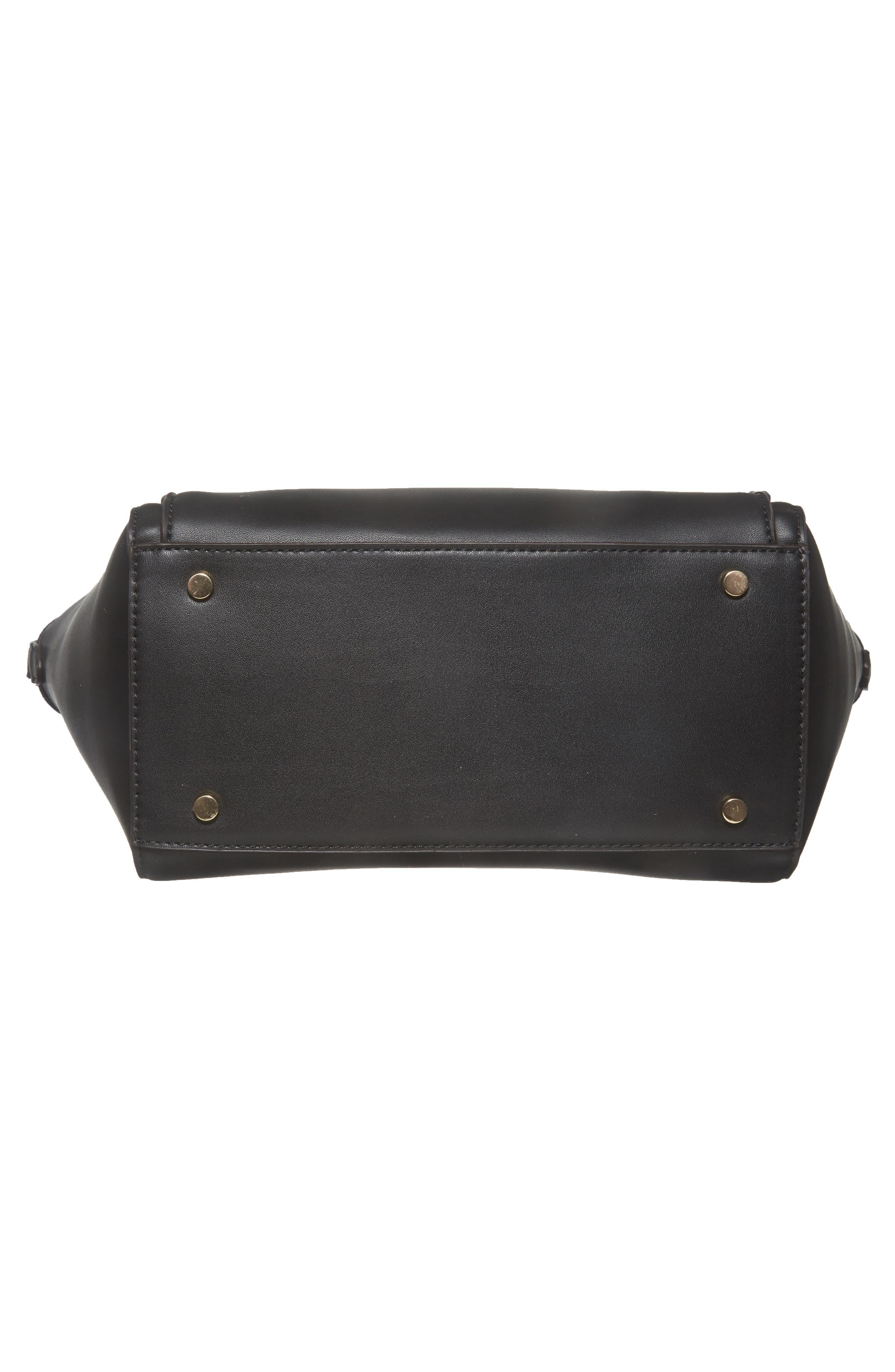 Amada Faux Leather Satchel,                             Alternate thumbnail 6, color,                             Black