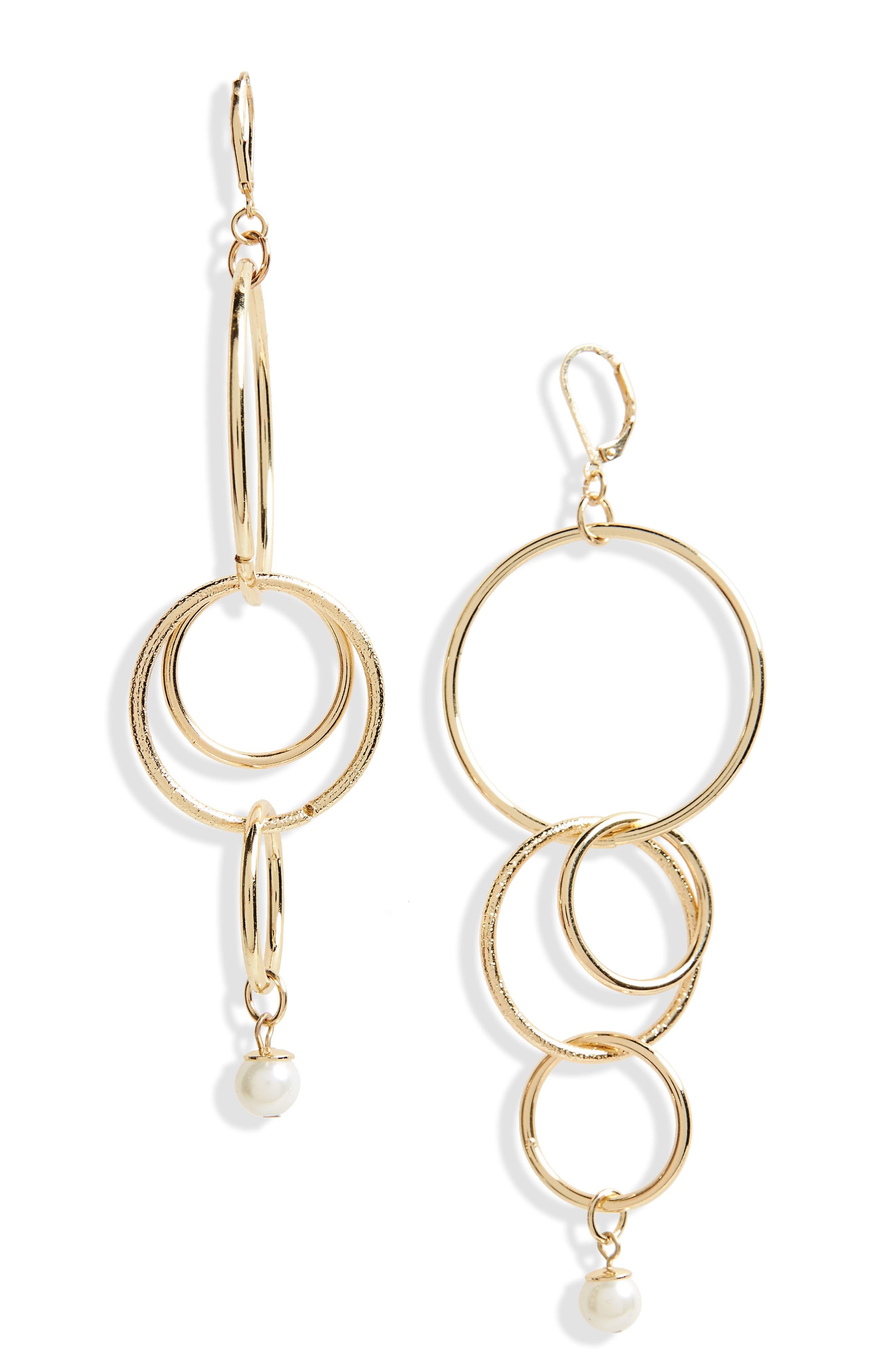 Multi Linked Imitation Pearl Hoop Earrings,                             Main thumbnail 1, color,                             Gold