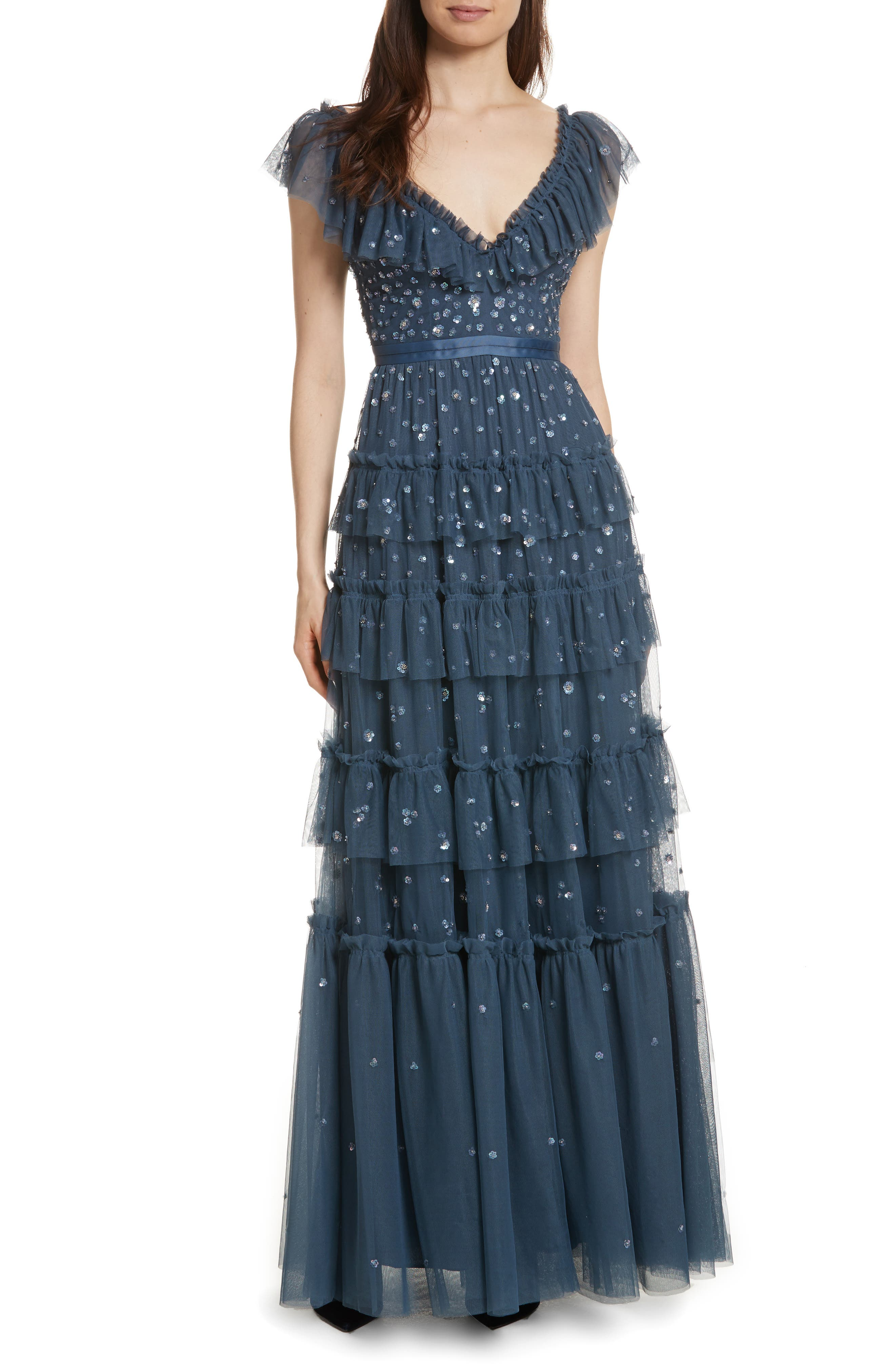 Sunburst Tiered Gown,                             Main thumbnail 1, color,                             Washed Indigo