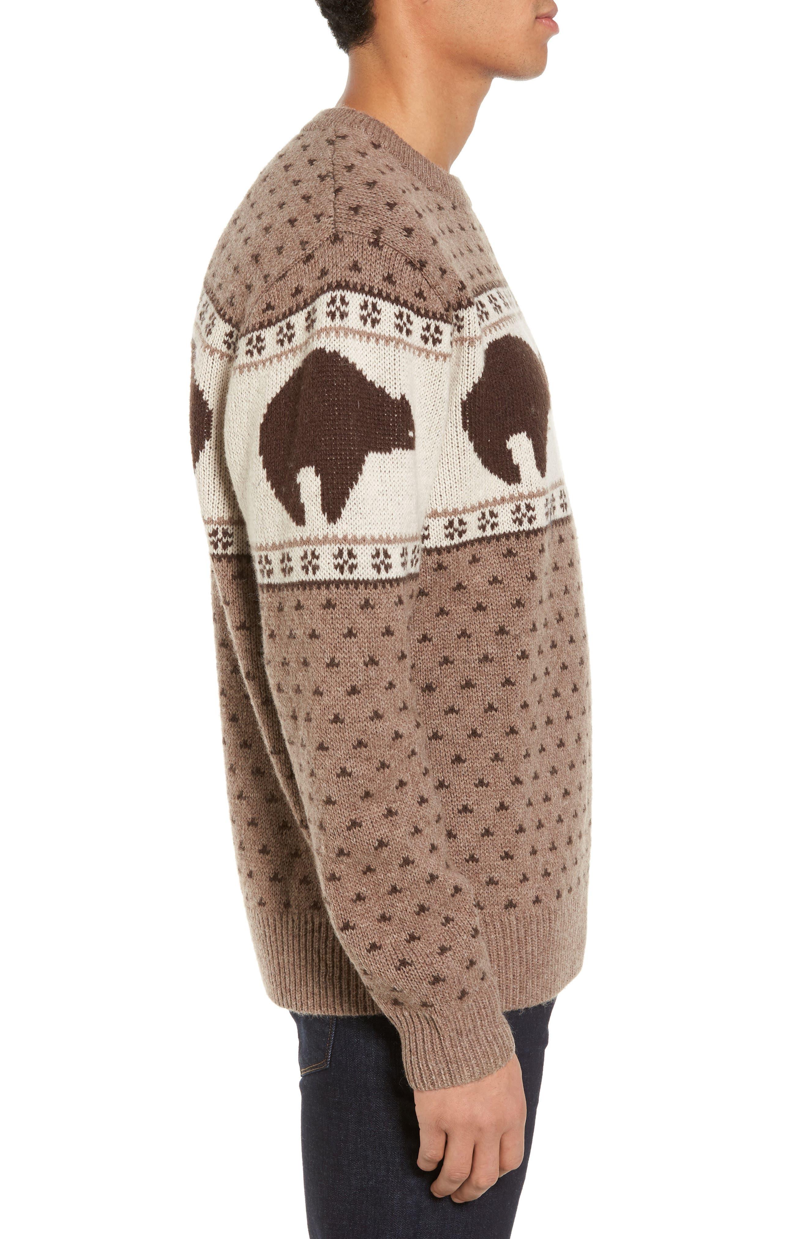 Bear Sweater,                             Alternate thumbnail 3, color,                             Brown/ Ivory Bear