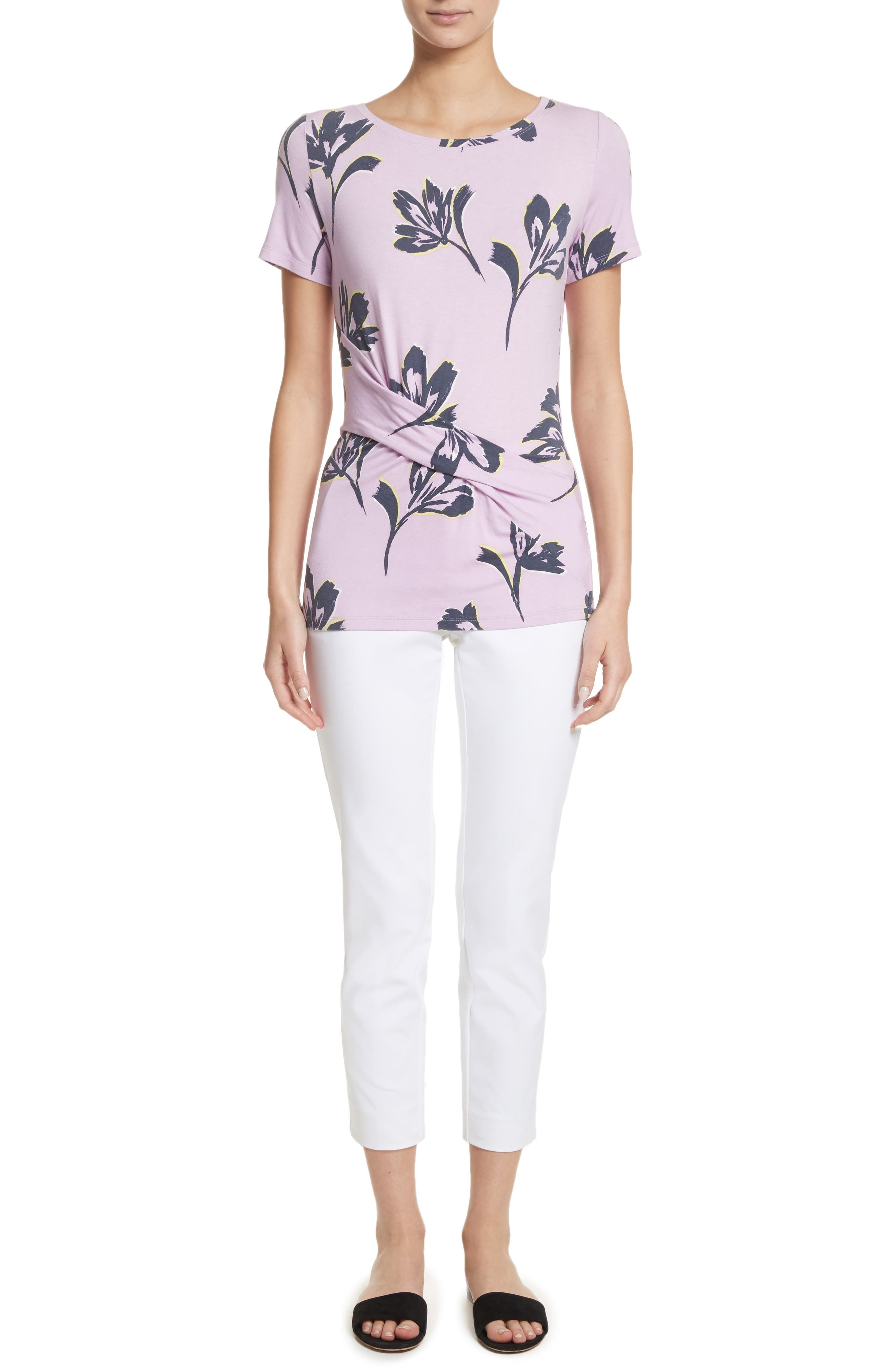 Falling Flower Print Jersey Tee,                             Alternate thumbnail 7, color,                             Orchid Multi