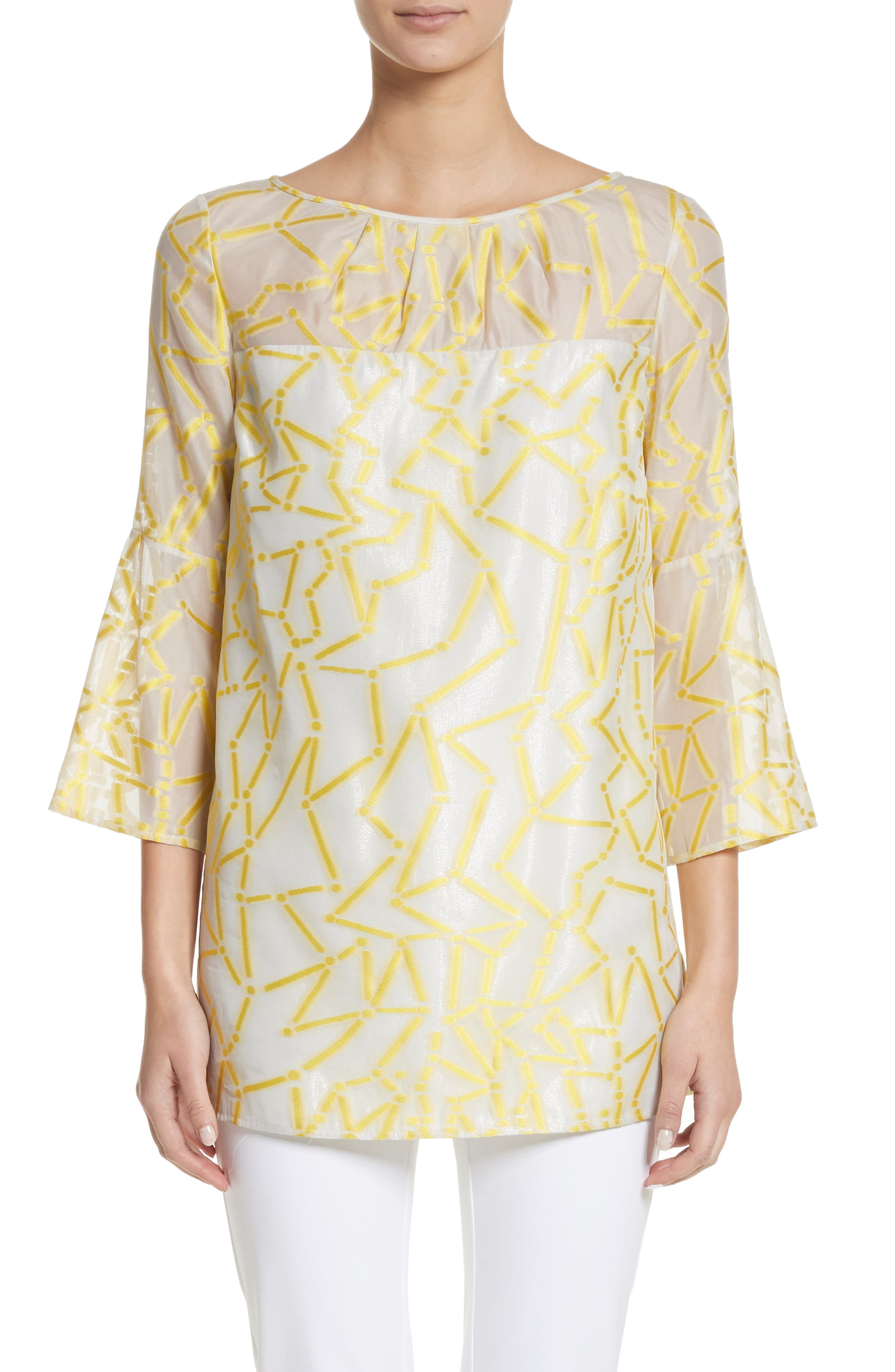 St. John Collection Abstract Organza Fil Coupé Top