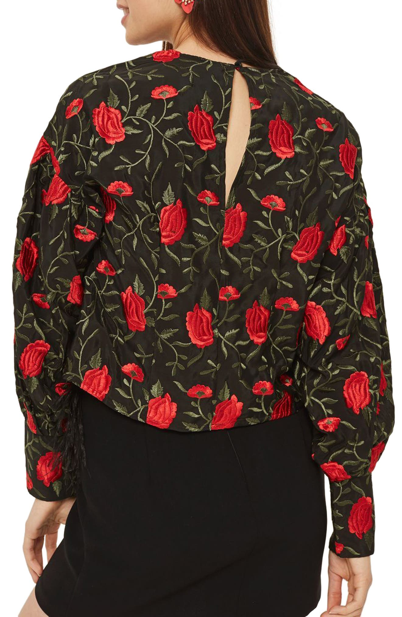 Rose Embroidered Balloon Sleeve Blouse,                             Alternate thumbnail 2, color,                             Black Multi
