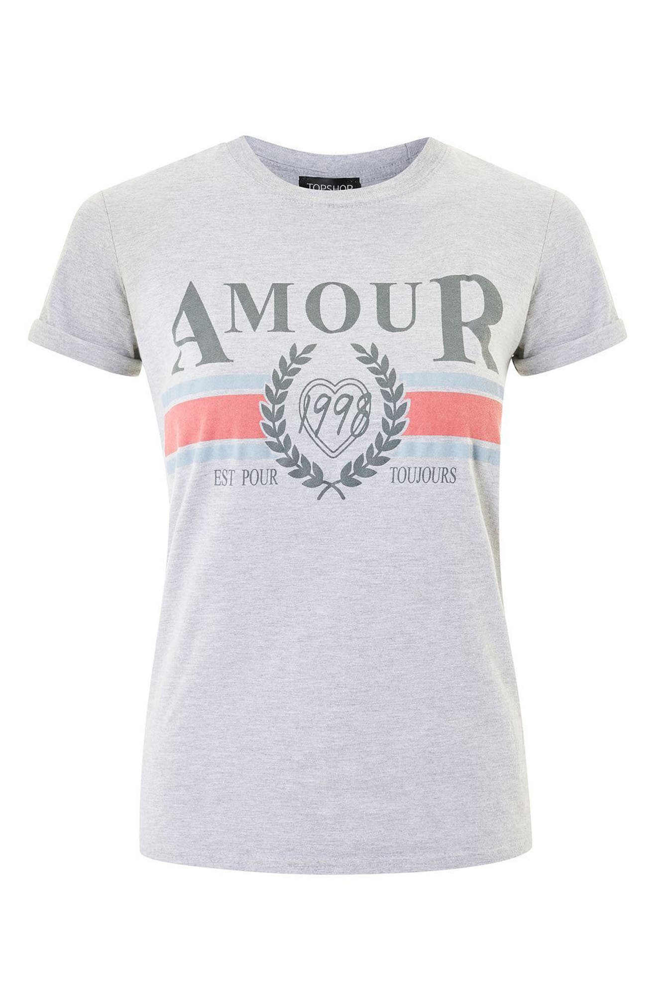 Amour Graphic Tee,                             Alternate thumbnail 4, color,                             Grey Multi