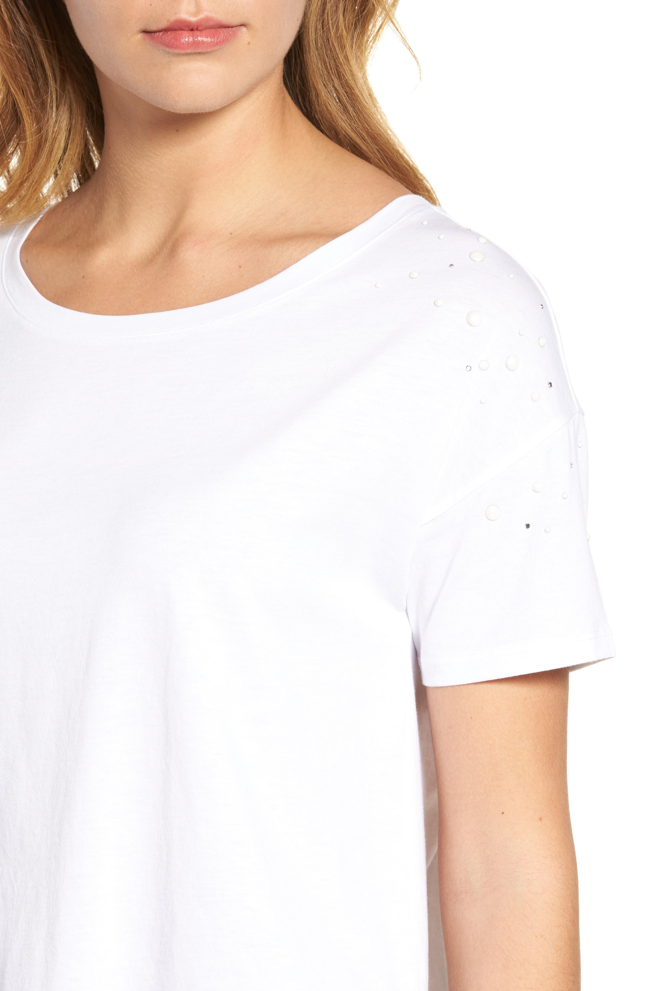 Short Sleeve Pearly T-Shirt,                             Alternate thumbnail 4, color,                             White W/ White Pearls