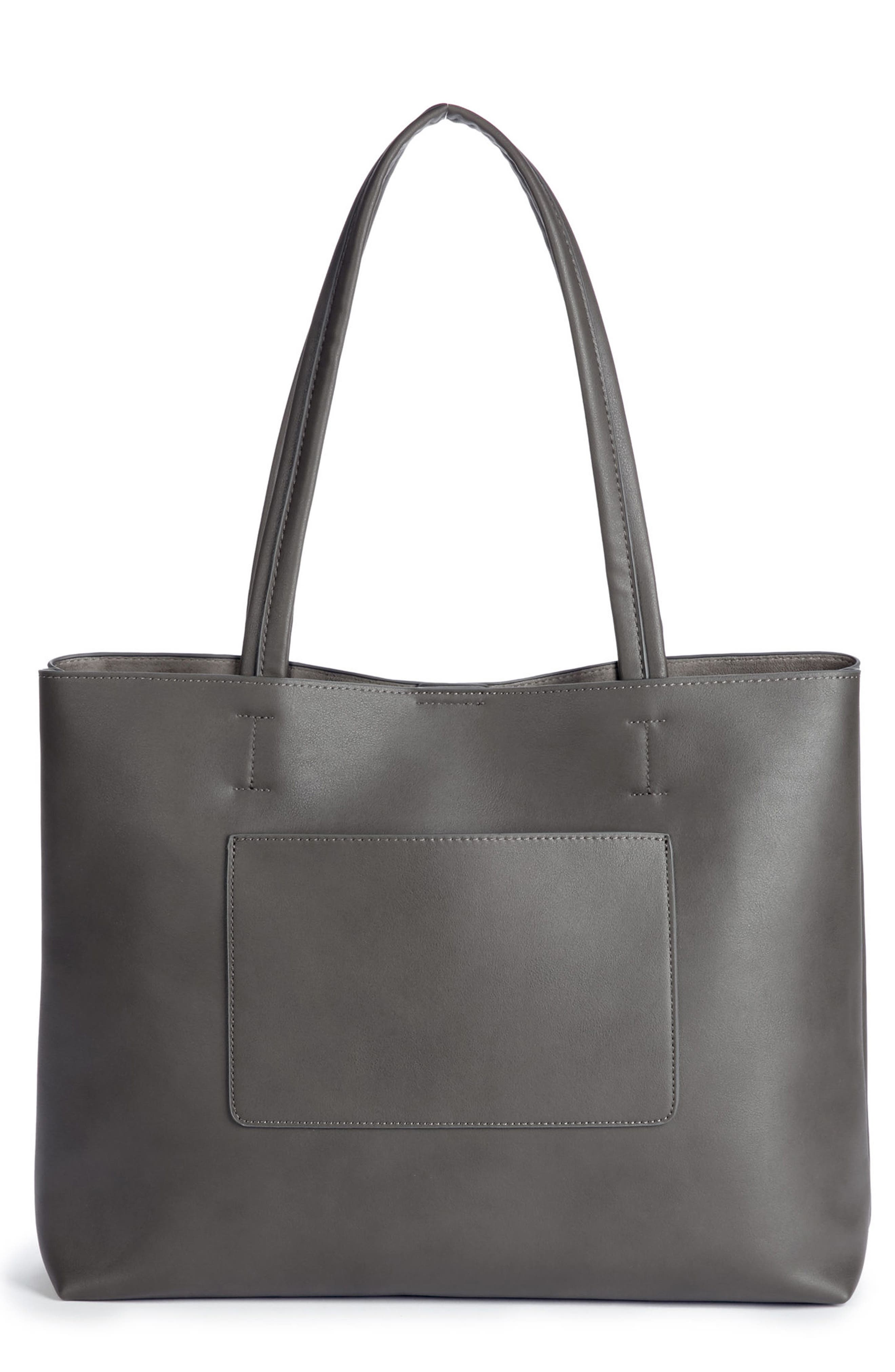 Oversize Faux Leather Tote,                             Main thumbnail 1, color,                             Grey