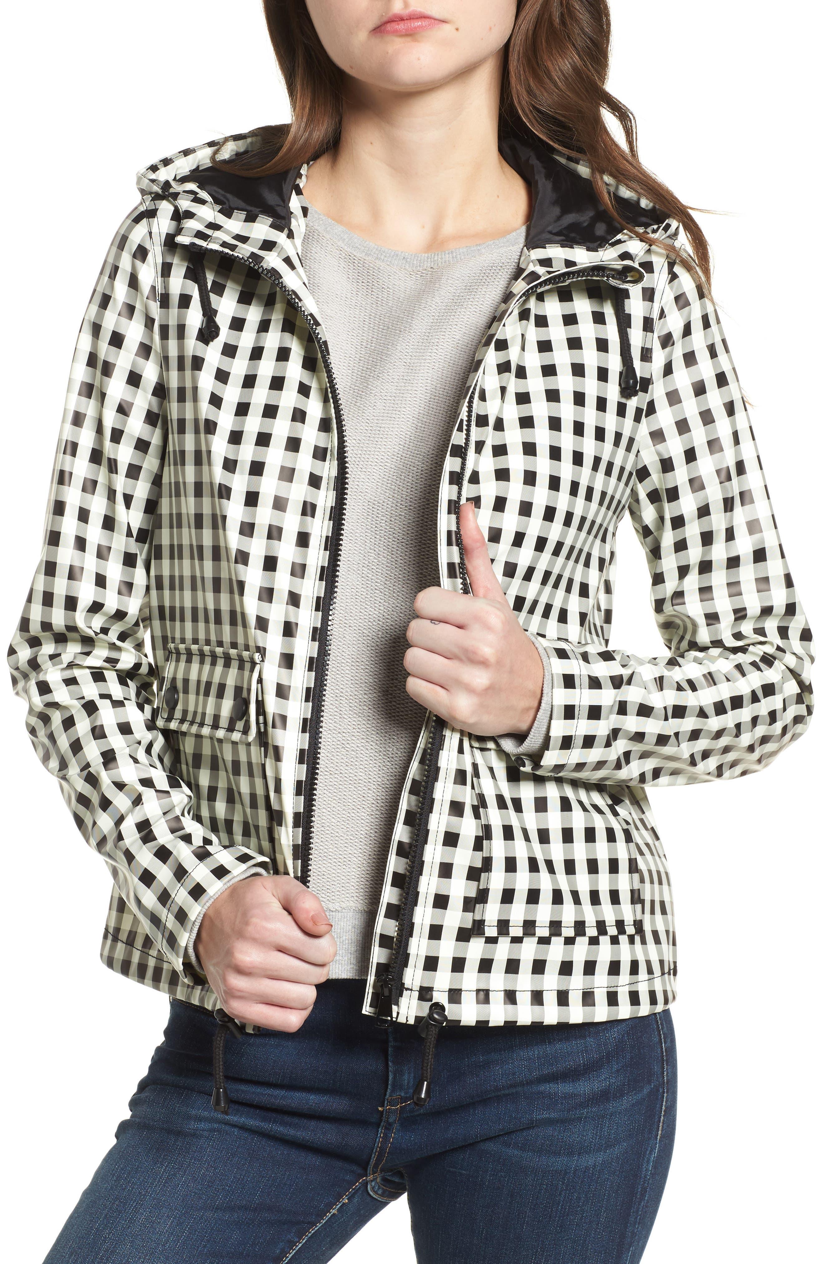 Gingham Hooded Rain Jacket,                         Main,                         color, Black/ White